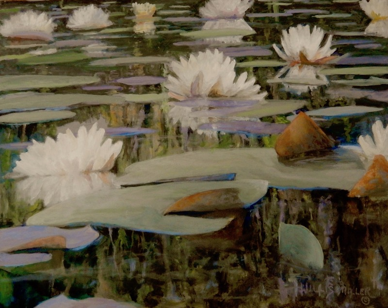 """New Day Coming, 16"""" x 20"""", oil.  I saw this at the Botanical Gardens of the Ozarks.  There is different beauty in different perspectives."""