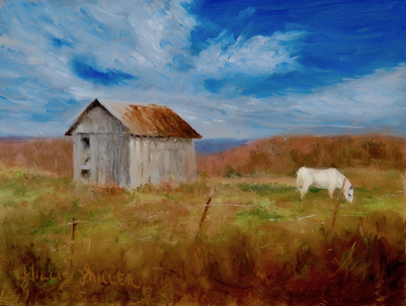 "Away From Busy, 9"" x 12"", oil.  A good friend drove me by this scene in the back country of NW Arkansas."