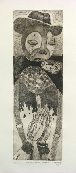 "Prayer for the Doomed,  Etching and aquatint on found plate  19x6"" ($200.00, for sell in shop)"