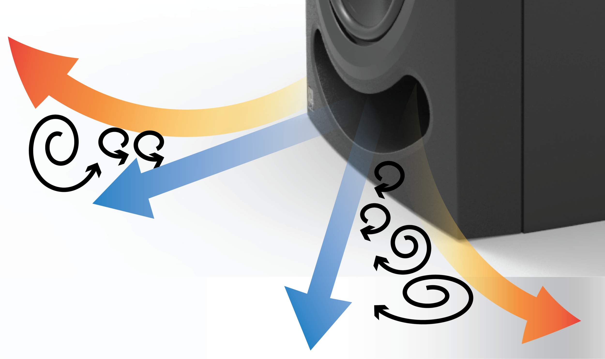 A standard port tube: air leaving the port tube at different velocities creates noisy turbulence.