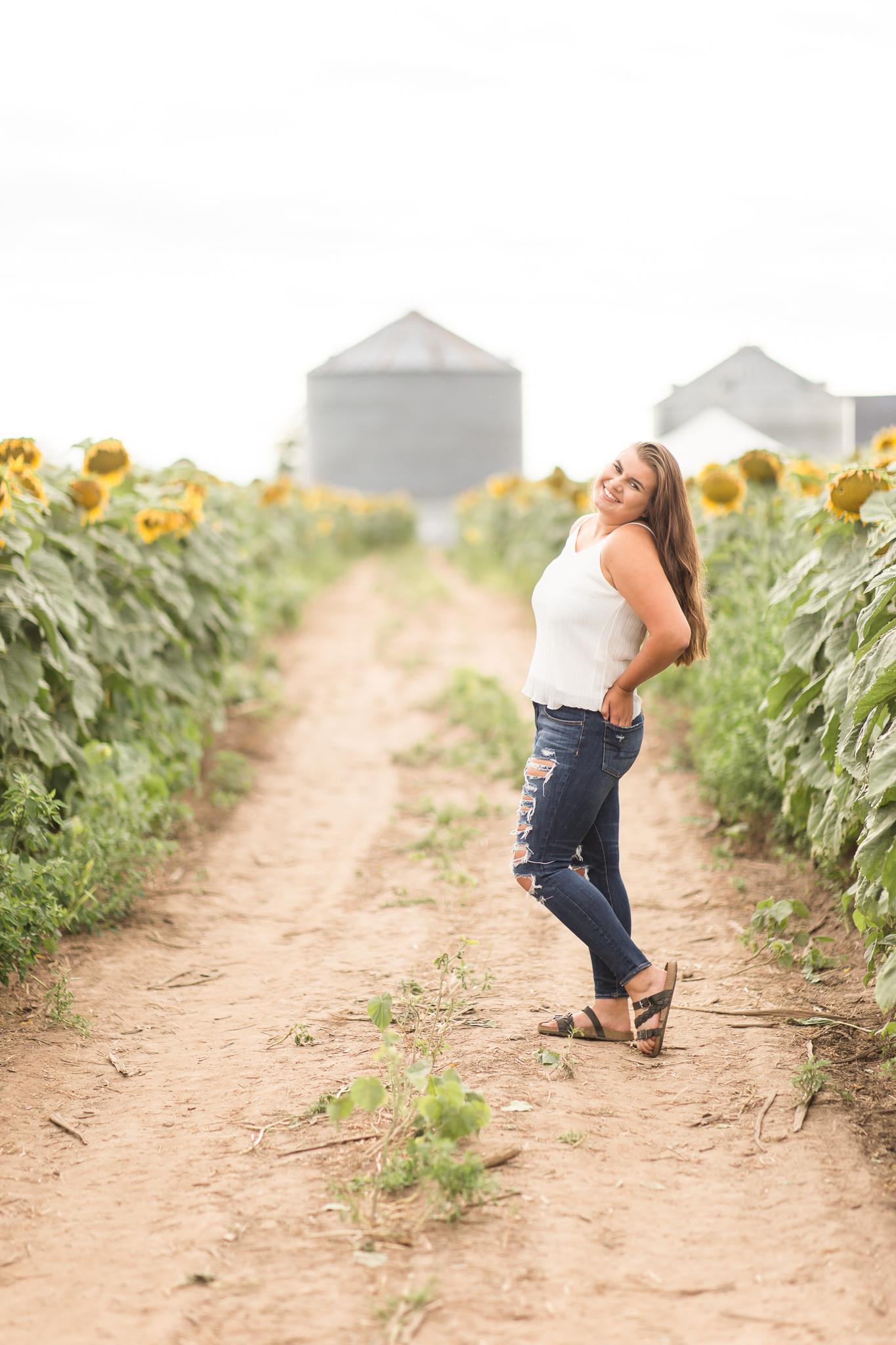 senior photos with sunflowers wisconsin