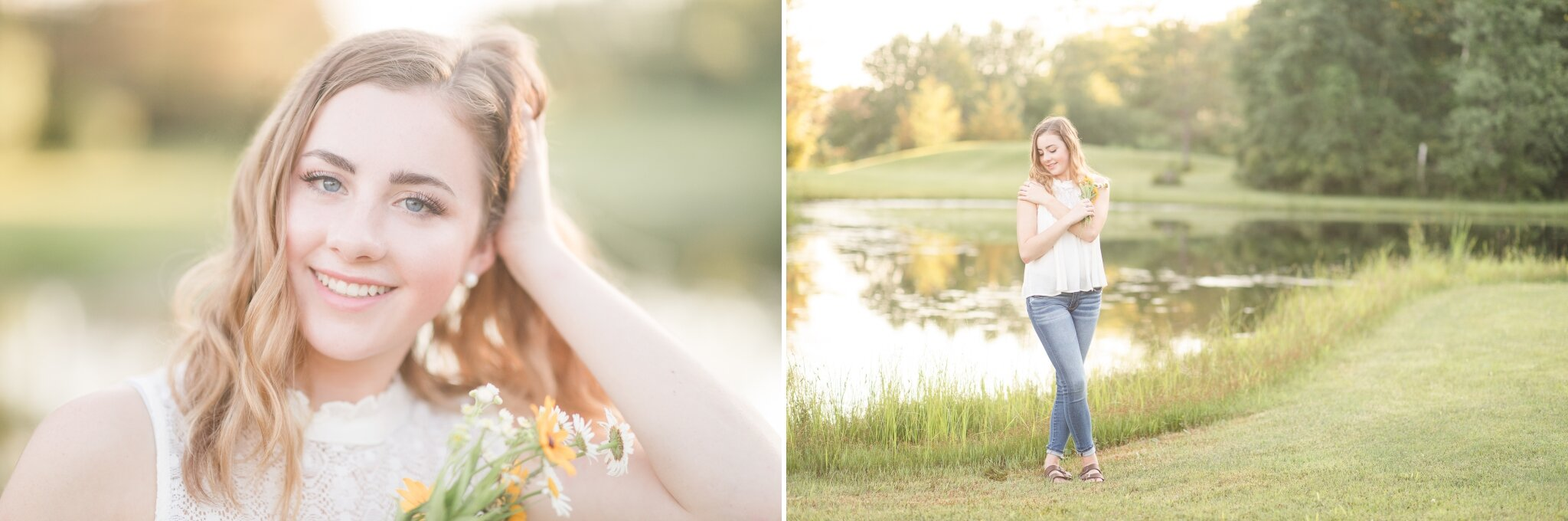 Senior Pictures by a pond with Wildflowers in Appleton WI