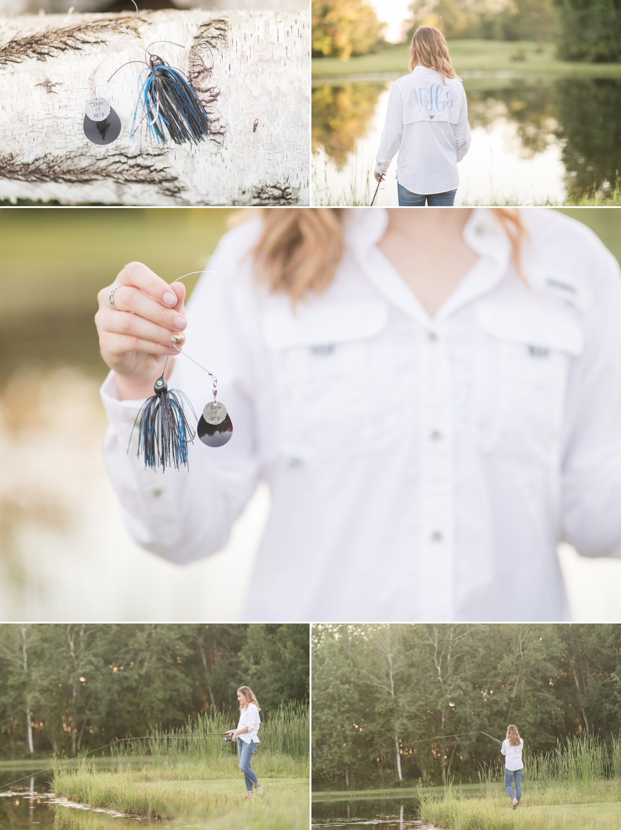 Senior Pictures with fishing gear Appleton WI