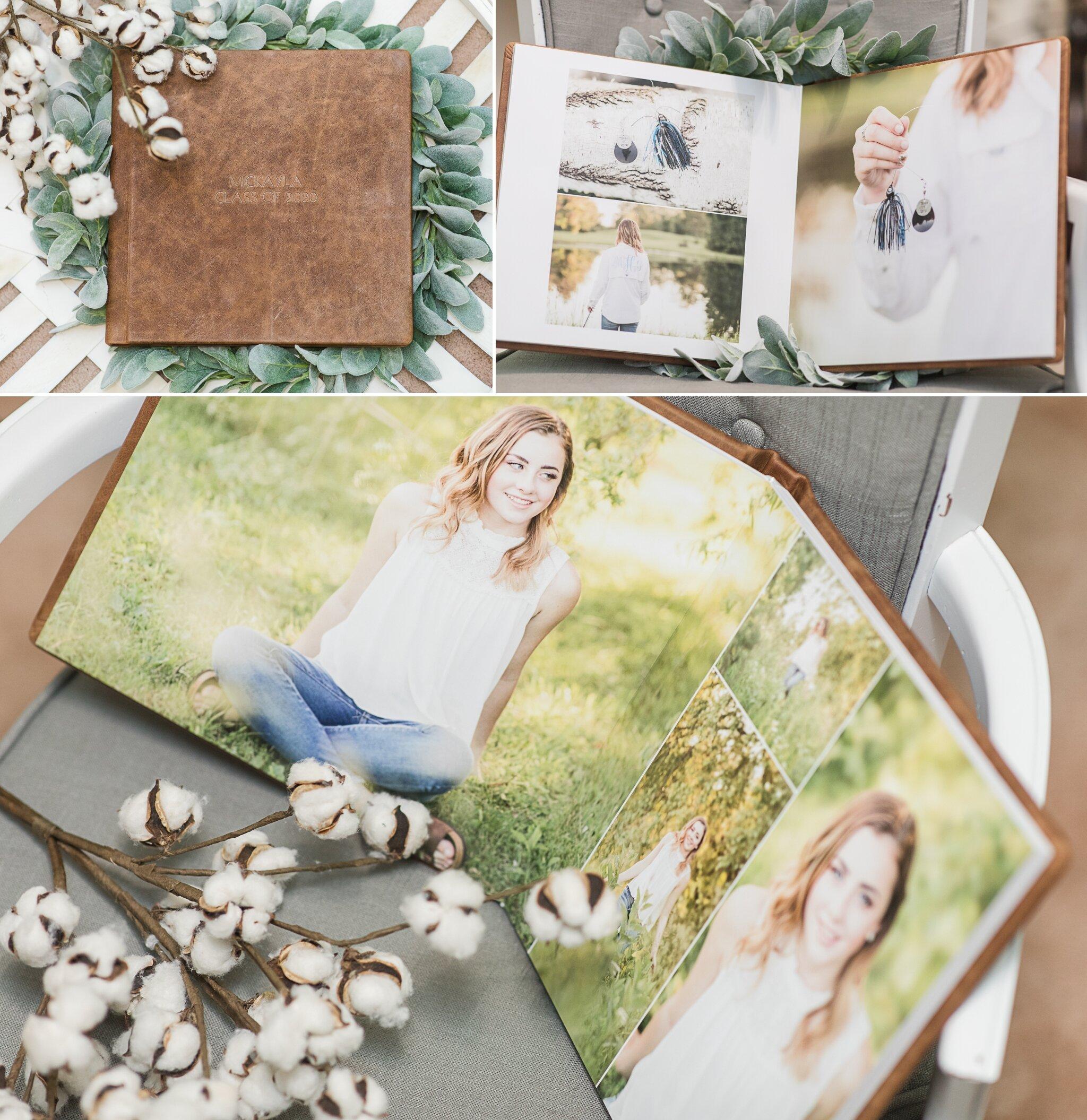 Senior Pictures in a leather Photo Album Appleton WI