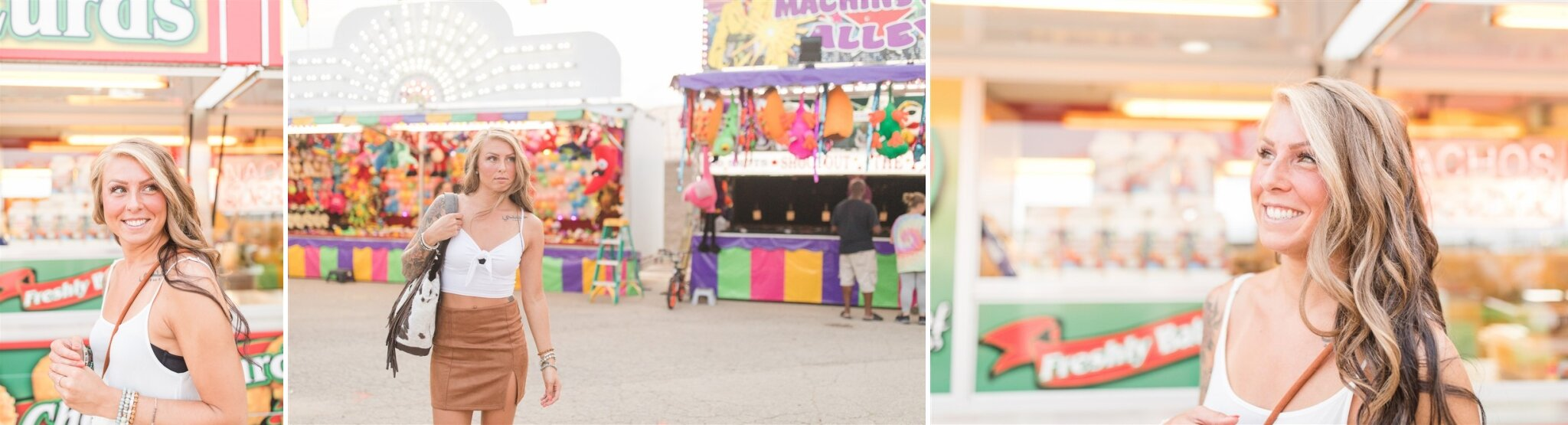 Fun branding photo shoot at the Outagamie County Fair, in Seymour, WI. Love the lights from the carnival games in the background.