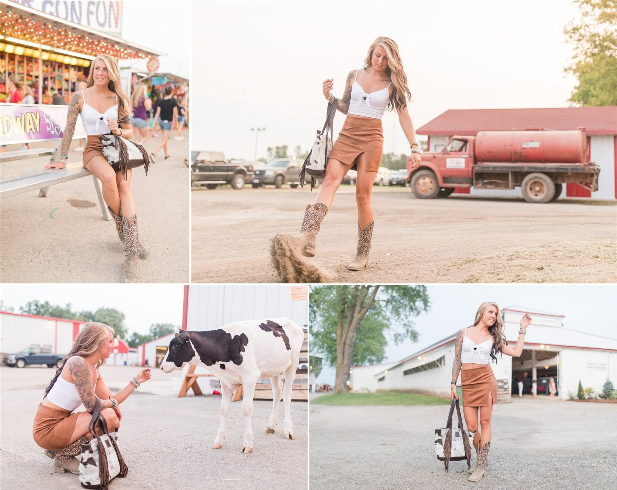 Inspirational Photoshoot at the Outagamie County Fair in Seymour, WI. Cute photo with a calf and carnival games.