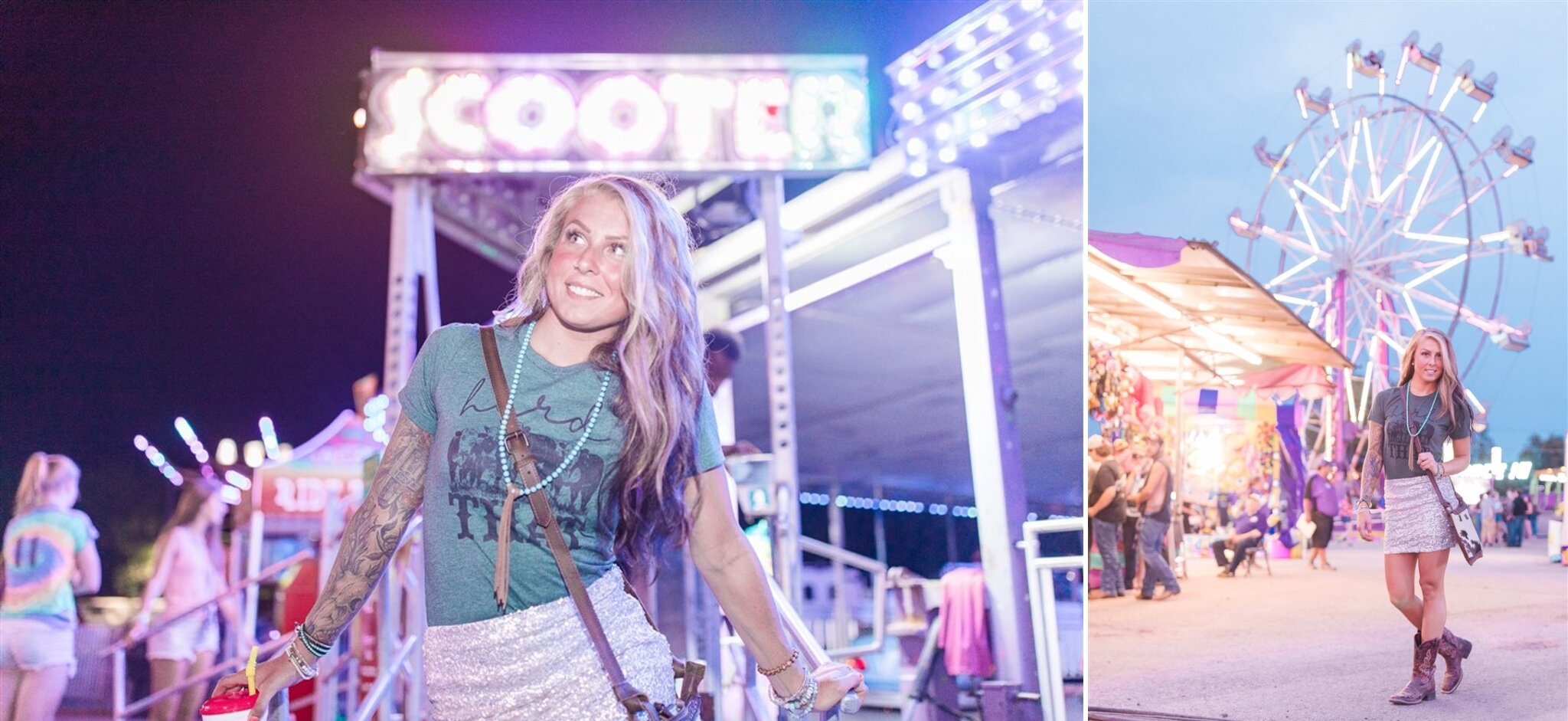 Fun photoshoot the the Outagamie County Fair in Seymour, WI. The carnival ride lights were a perfect backdrop to our creative content photoshoot.