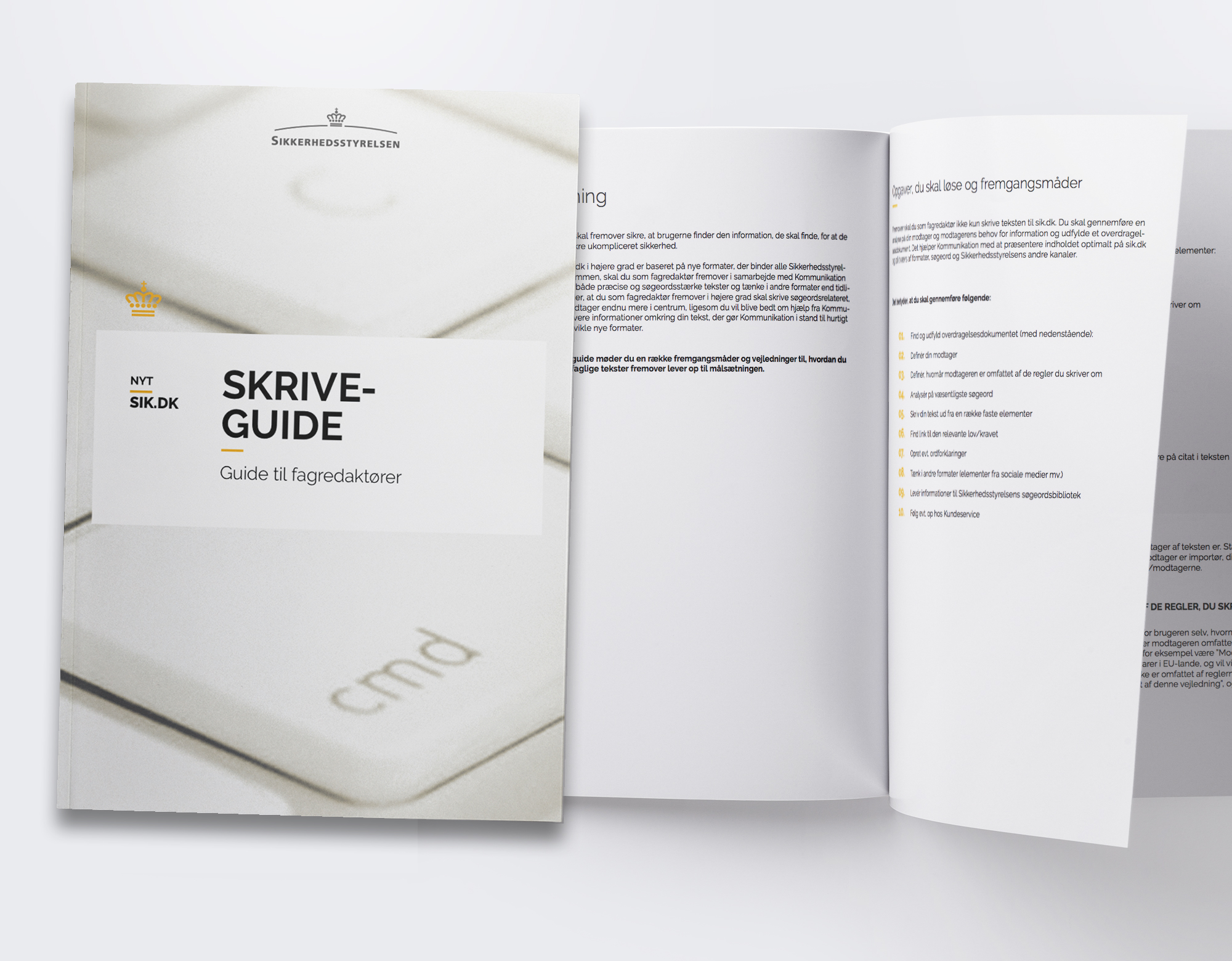 Design af forside + opsætning af publikation ud fra Sikkerhedsstyrelsens eksisterende designguide.