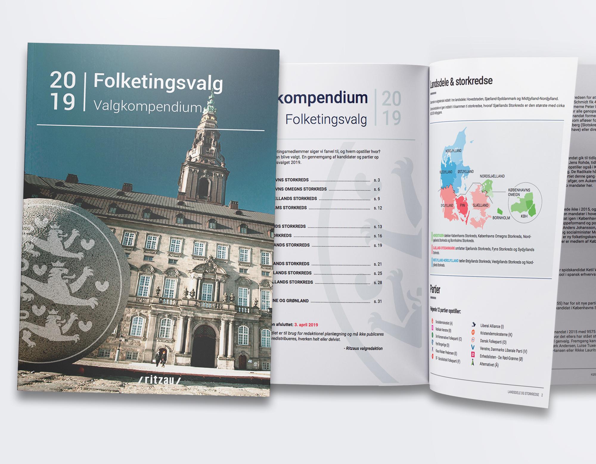 Design af valgkompendium for Ritzau til brug for medier, organisationer m.fl. i forbindelse med folketingsvalget d. 5. juni 2019.