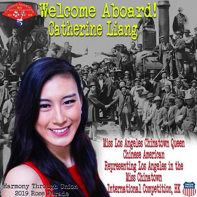Welcome Aboard, Catherine Liang, Miss Chinatown! Float rider and cultural ambassador extraordinaire! @uprr @bachmanntrains @bankofamerica @fiestaparadefloats 2019 @rose_parade @pangeacorp #harmonythroughunion