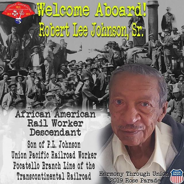 Welcome Aboard, Robert Johnson Sr., one of our railroad descendants who will be riding on Harmony Through Union! @uprr @rose_parade @fiestaparadefloats @bankofamerica @pangeacorp
