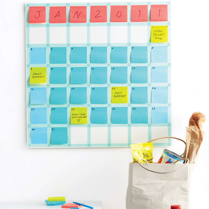 Sticky Note Calendar    A clean and attractive D.I.Y. wall calendar made out of office supplies that's more functional than most? Looks good to me.