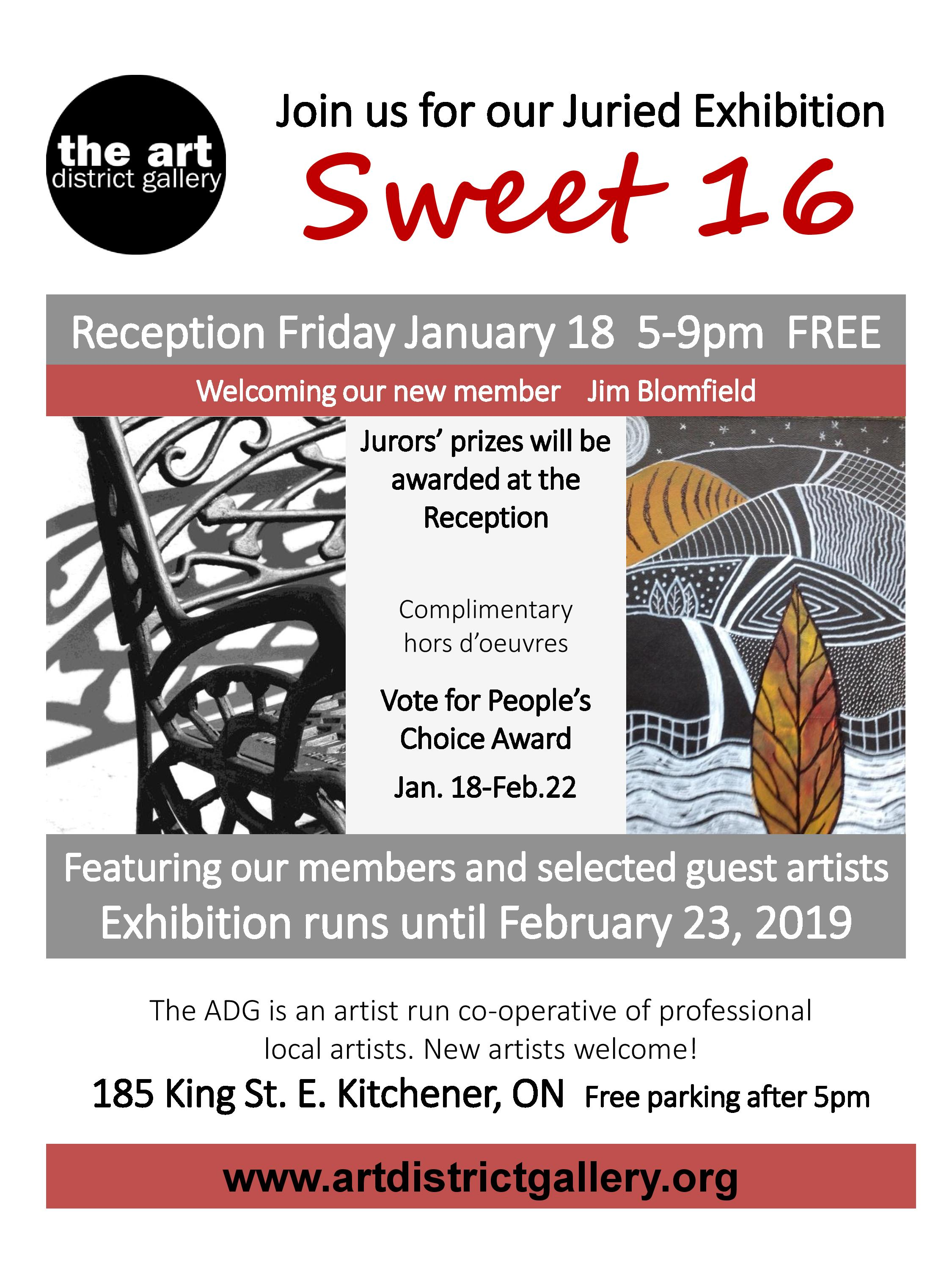 Sweet 16 Juried Exhibition at The Art District Gallery - Reception Friday, January 18 5-9 pmShow runs util February 23, 2019