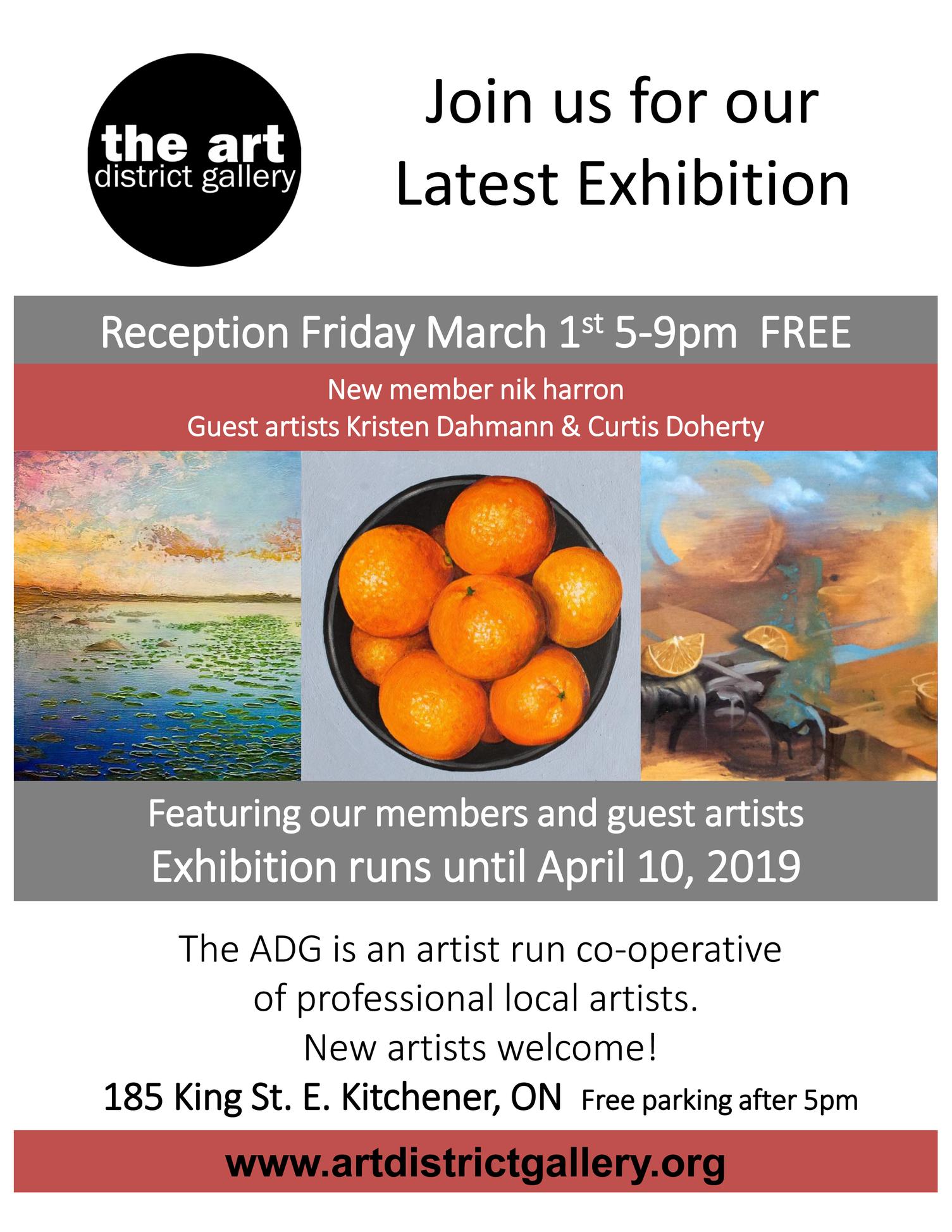 Art District Gallery - Reception March 1, 2019Show runs until April 10, 2019