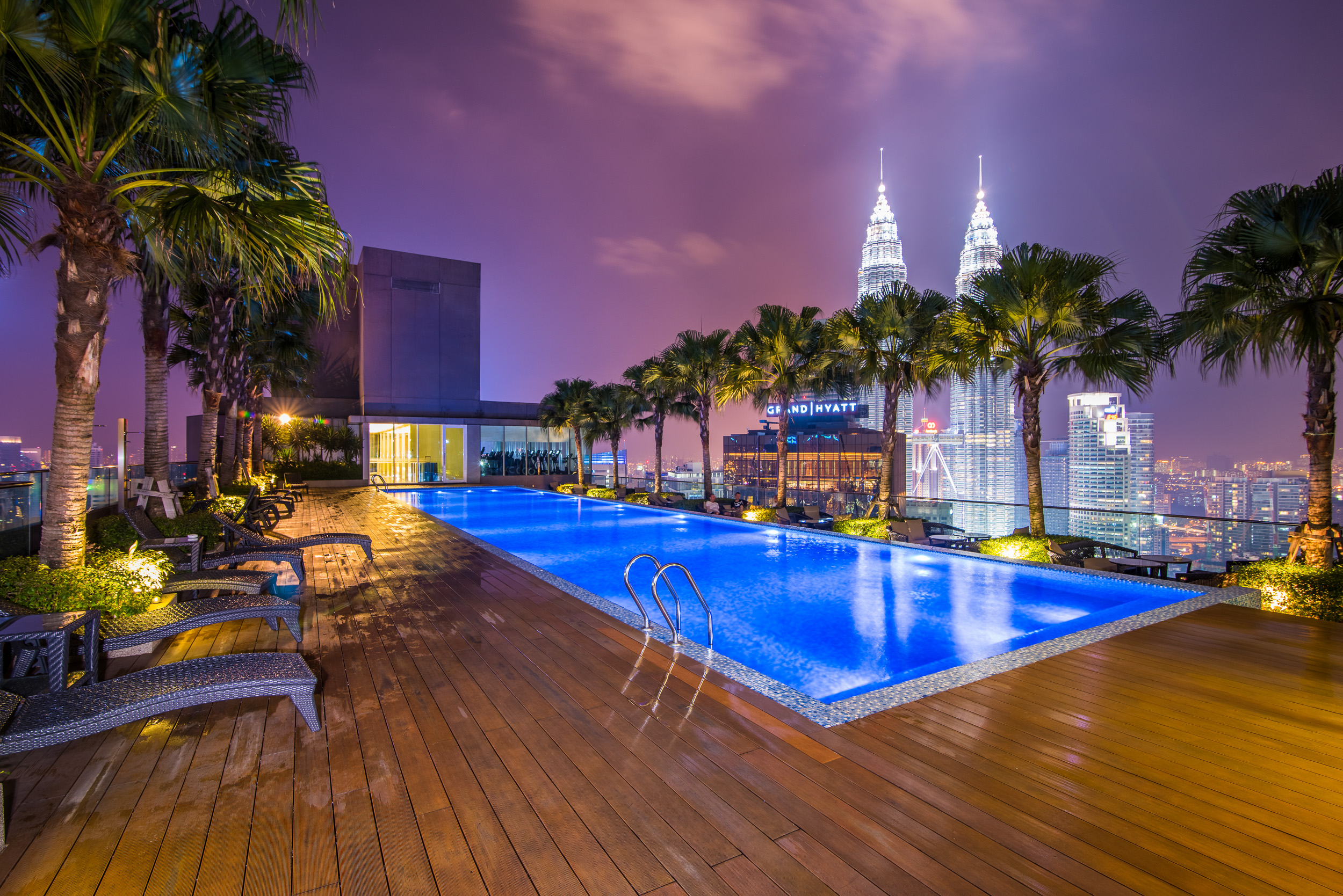 Rooftop Swimming Pool atop Vipod Residences, Kuala Lumpur, Malaysia with Petronas Towers in the background