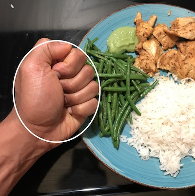 Use your fist to measure veggies portions.