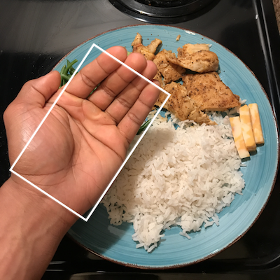 For cooked carbs and fruit use what can fit in your cupped hand.