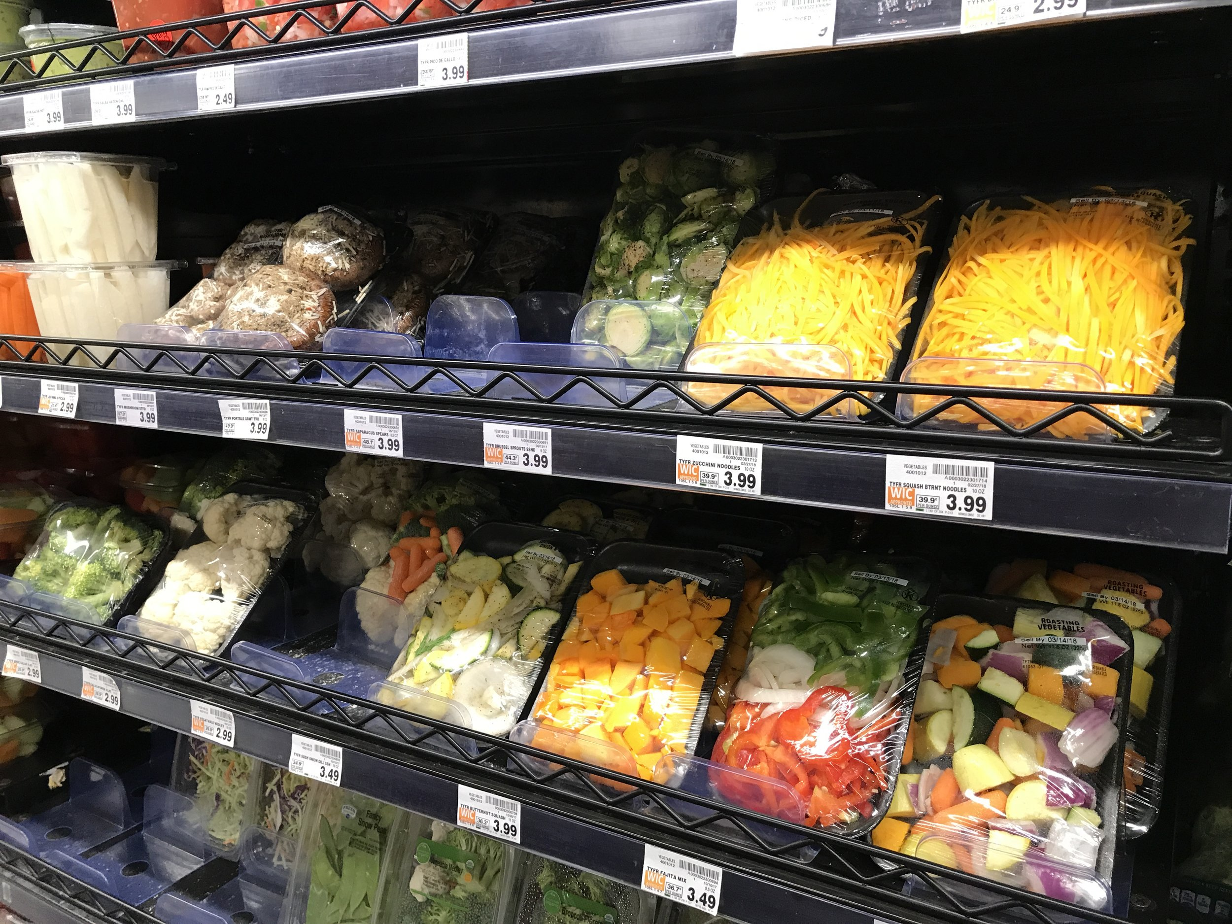Pre-cut veggies are bit more money but will save you more time prepping.