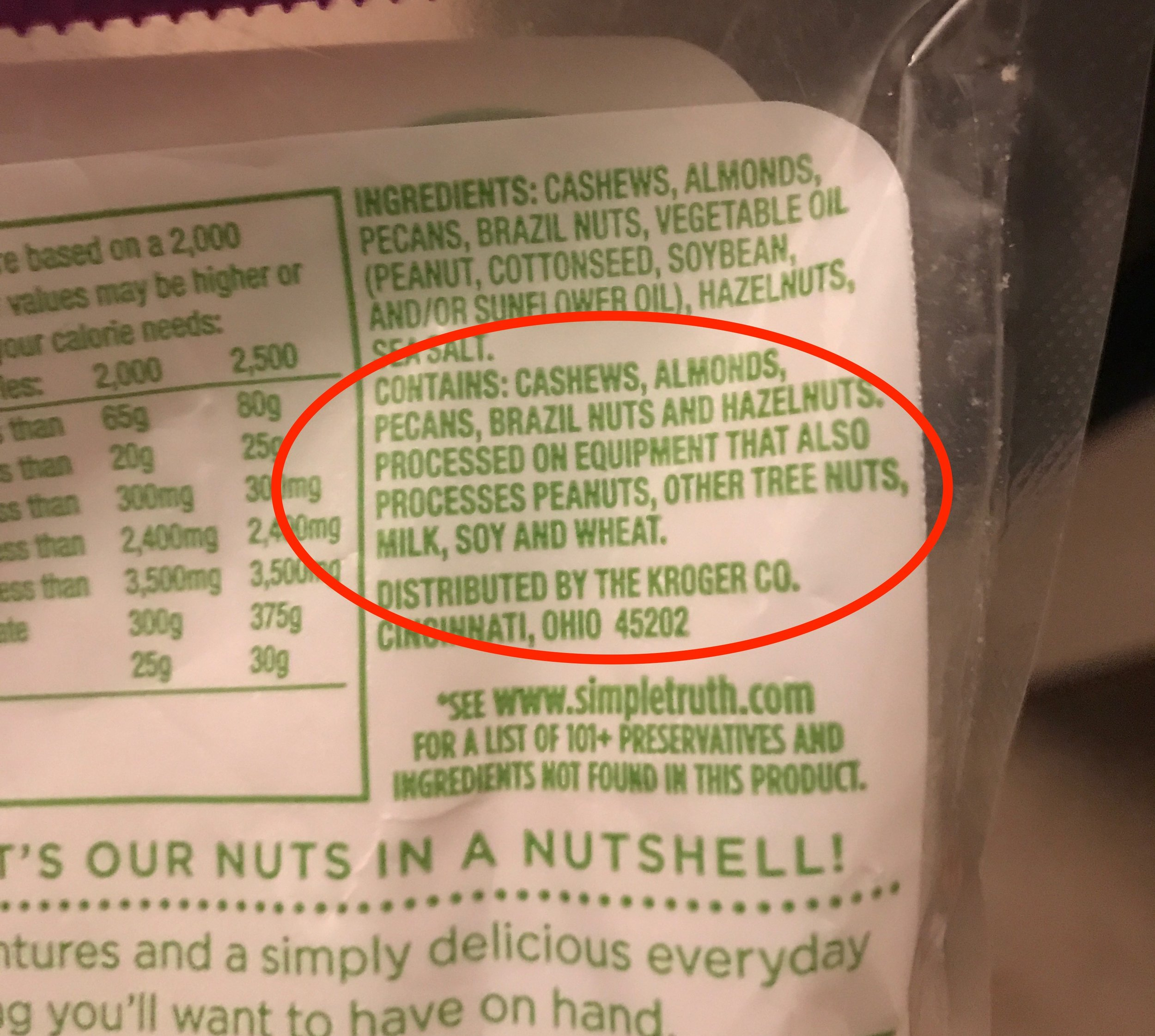 Even though nuts are naturally gluten-free, you still need to check the label. If a food is processed on the same equipment as wheat, it's no bueno due to cross-contamination.