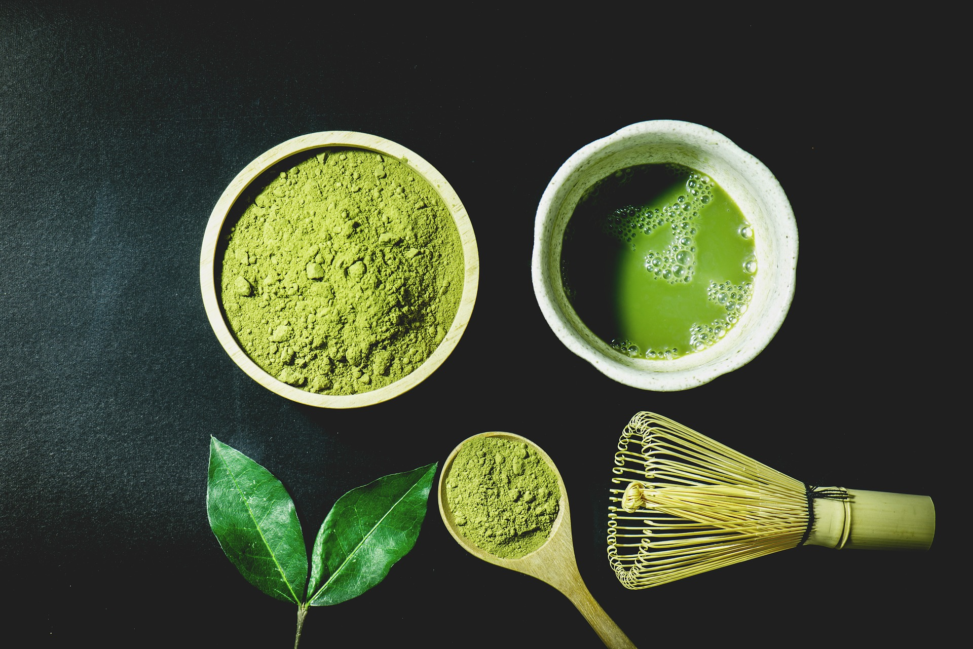 Matcha (pulverized green tea) has a ton of benefits, is lower in caffeine than coffee and great for helping you hydrate.