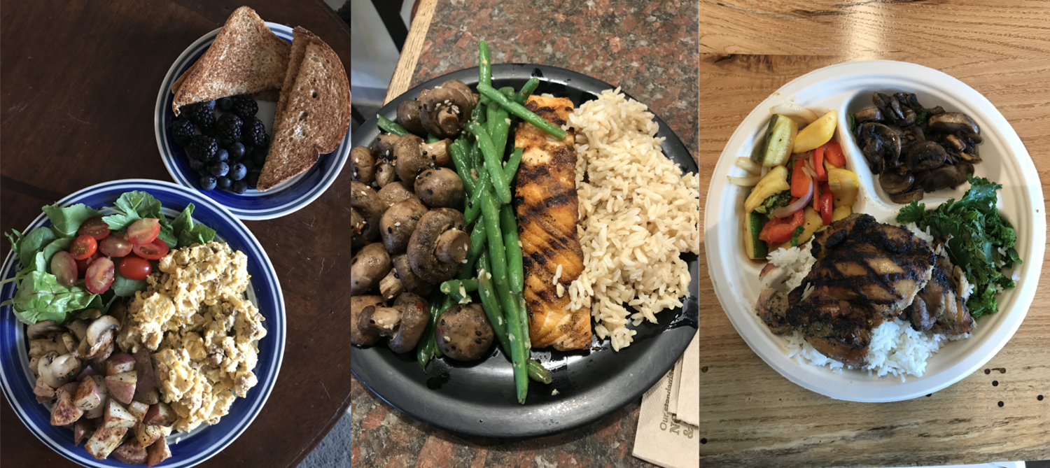 Some examples of my post-workout meals. Balanced meals containing mostly whole, unprocessed sources of protein, carbs, and fats help you get stronger, recover from training while losing body fat.