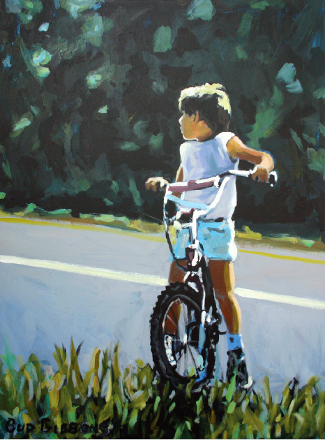 "Charles ""Bud"" Gibbons (1947– ),  Boy on Bike,  acrylic, 47 x 37 in., acquired 1987, Friends of Art Collection for Pittsburgh Public Schools."