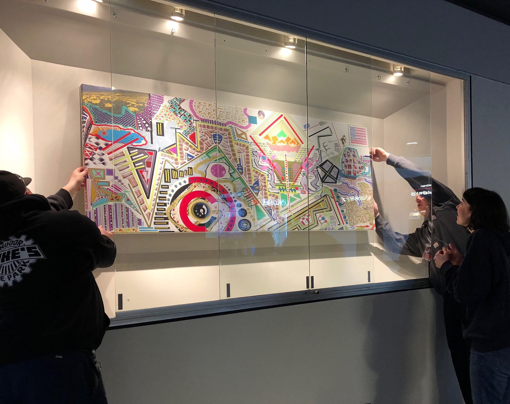 THE FOOL AT THE PRECIPICE - March 2018 - June 2018Pittsburgh International AirportThe Fool at the Precipice illustrates an earthly and imaginary landscape that incorporates geometric and figurative elements in order to form a symbolic language of shape and color. The Fool, the small figure represented within the drawing, is poised on the edge of the unknown in a world of seemingly endless possibilities.This work symbolizes every traveler's potential at the start of a journey, and the sense of freedom experienced when entering uncharted territories. Mance's work explores the interplay of the conscious and subconscious, and the relationship between nature and human experience. Her use of freehand drawing techniques and spontaneous mark making are implemented in order to avoid the restrictions that may come with self-consciousness and premeditation. Her unrestrained approach allows for a deeper focus on the ways in which we pass time, our idiosyncrasies, and repetitive rituals.