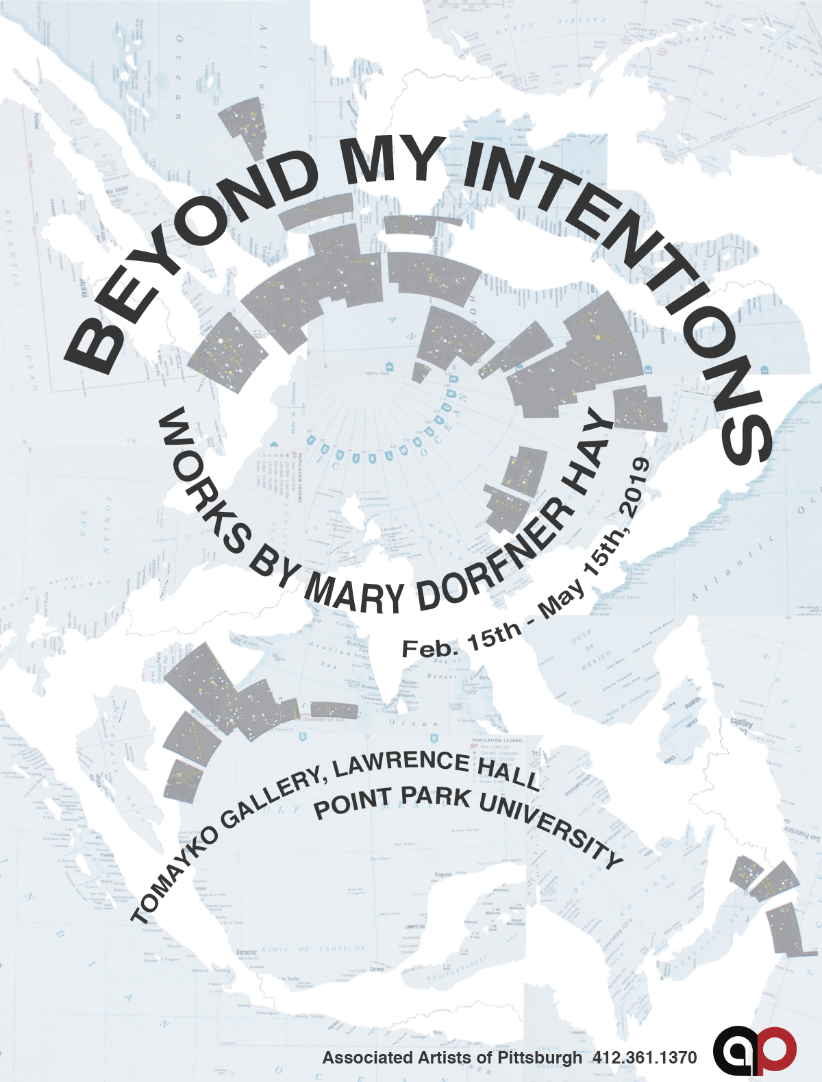 Beyond My Intentions   Works by AAP member Mary Dorfner Hay  Feb 2019 - May 2019 Tomayko Gallery, Lawrence Hall Point Park University, Pittsburgh, PA