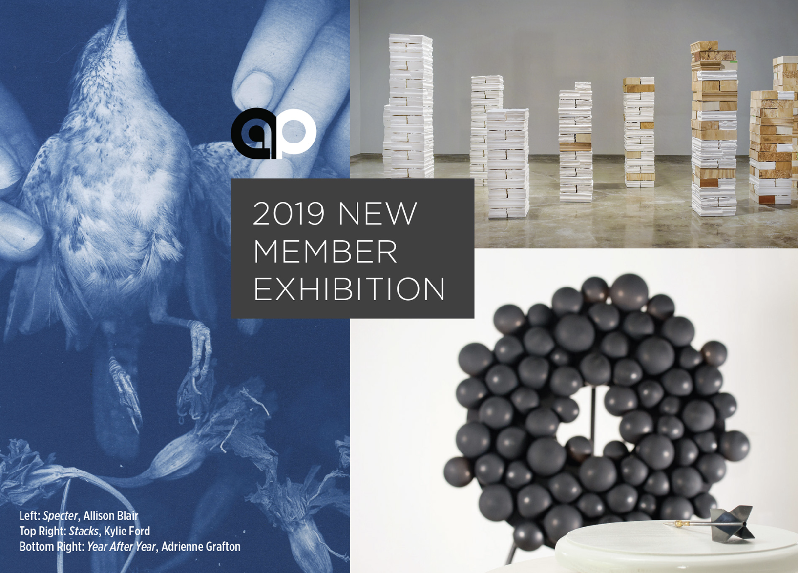 2019 New Member Exhibition   May 11–June 30, 2019   Pittsburgh Center for Arts & Media   Featuring the work of Karen Antonelli, Allison Blair, Cory Bonnet, Eric Charlton, Kevin Clancy, Thommy Conroy, Matthew Constant, Dennis Doyle, Dan Droz, Tara Fay, Kylie Ford, Adrienne Grafton, Hannah Harley, Megan Herwig, Christopher Hofmann, J Houston, Selena Hurst, Tressa Jones, Alyssa Kail, Ignacio Lopez, Karen Lue, Stephanie Martin, Paul Mullins, Brent Nakamoto, Njaimeh Njie, Joe Perry, Cassandra Pfaff, Justin Pope, Allan Rosenfield, John Sanders, Rachel Saul Rearick, Tyler Stanton, Sarah Tancred, and Annie Weidman.  The exhibition was curated by  Transmitter Gallery .