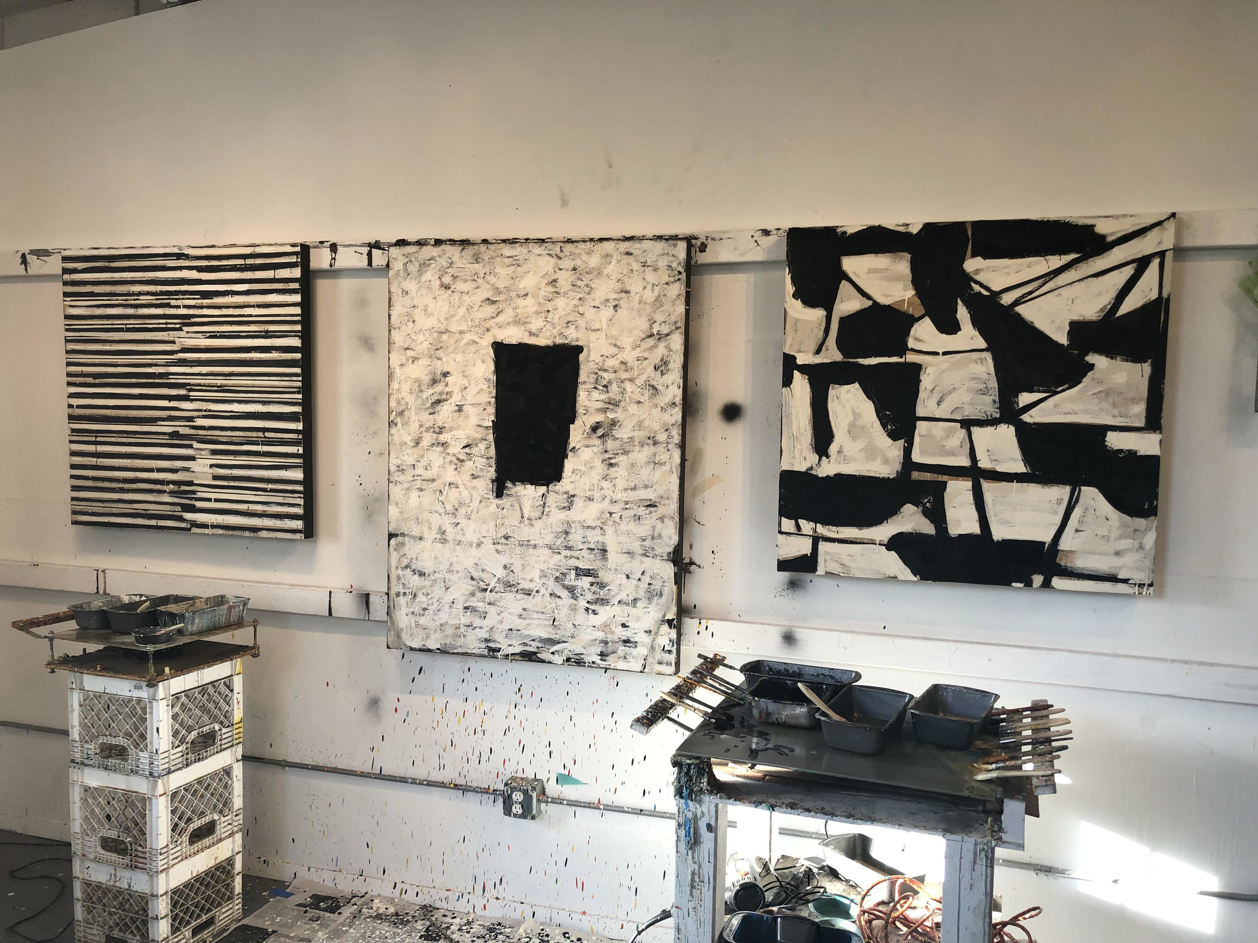"Starting my ""next"", exploring abstract black & white with encaustic, enamel, oil & other materials -"