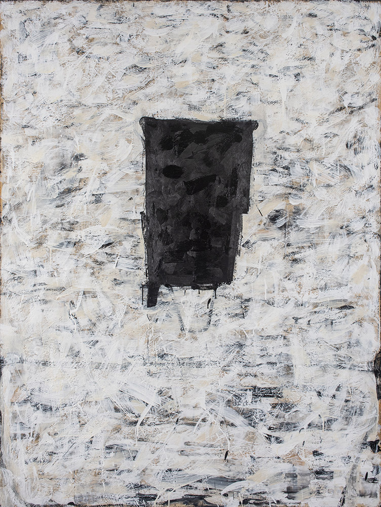 """Monolith"", 2018, encaustic and collage on board, 36"" x 48"""