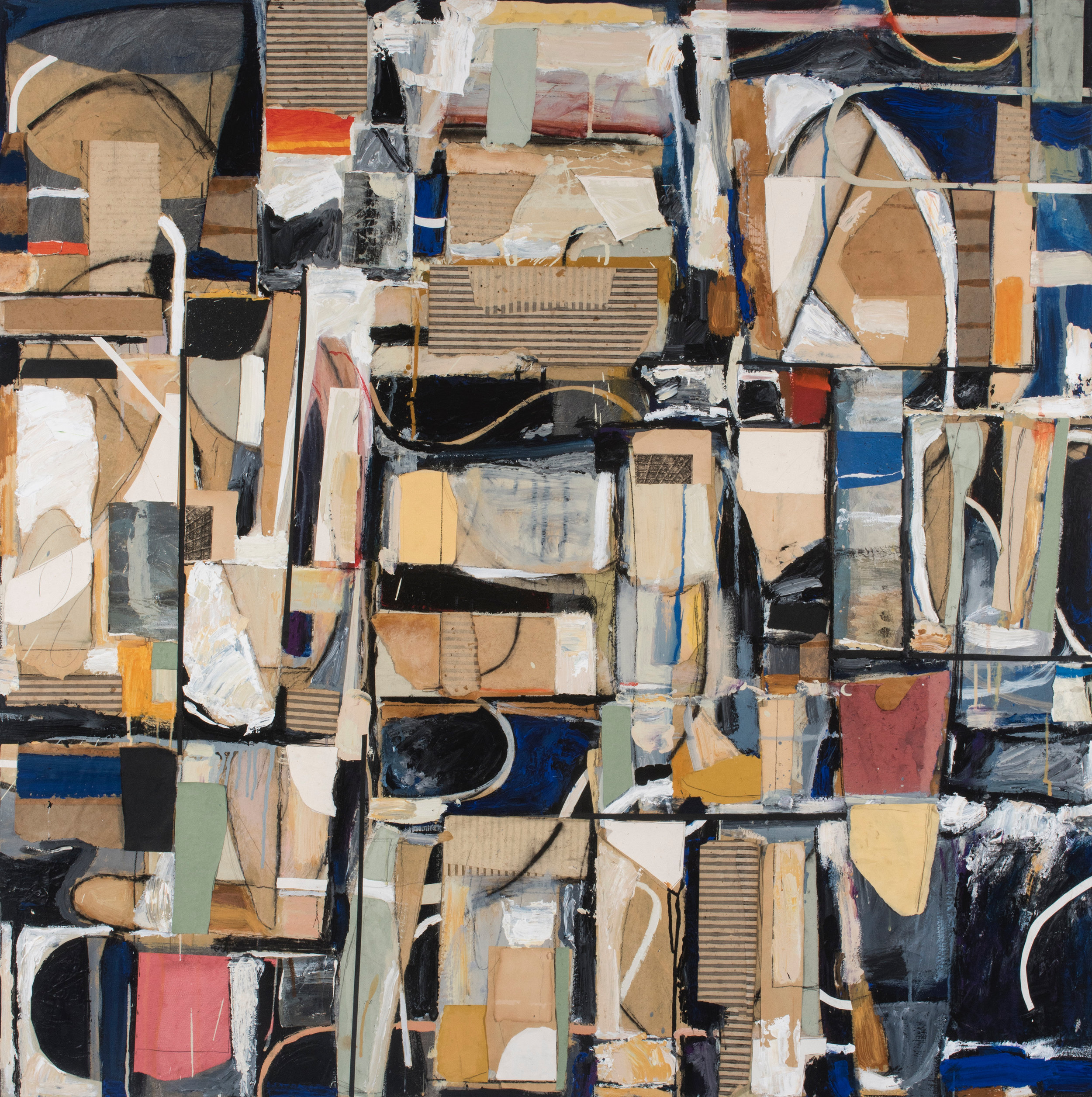 """New York 3am"", 1998, acrylic, charcoal, graphite and collage on canvas, 48"" x 48"""