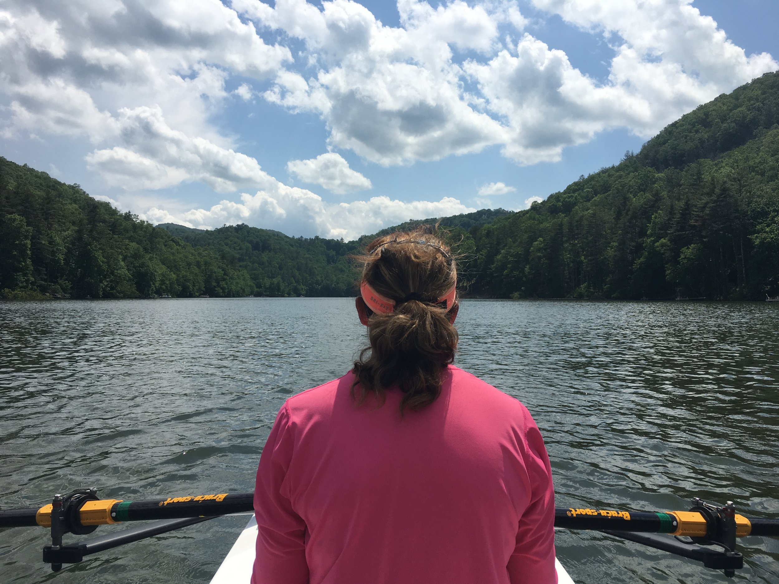 - Here we spent a couple of hours rowing around in the beautiful waters of Lake Glenville in N.C.