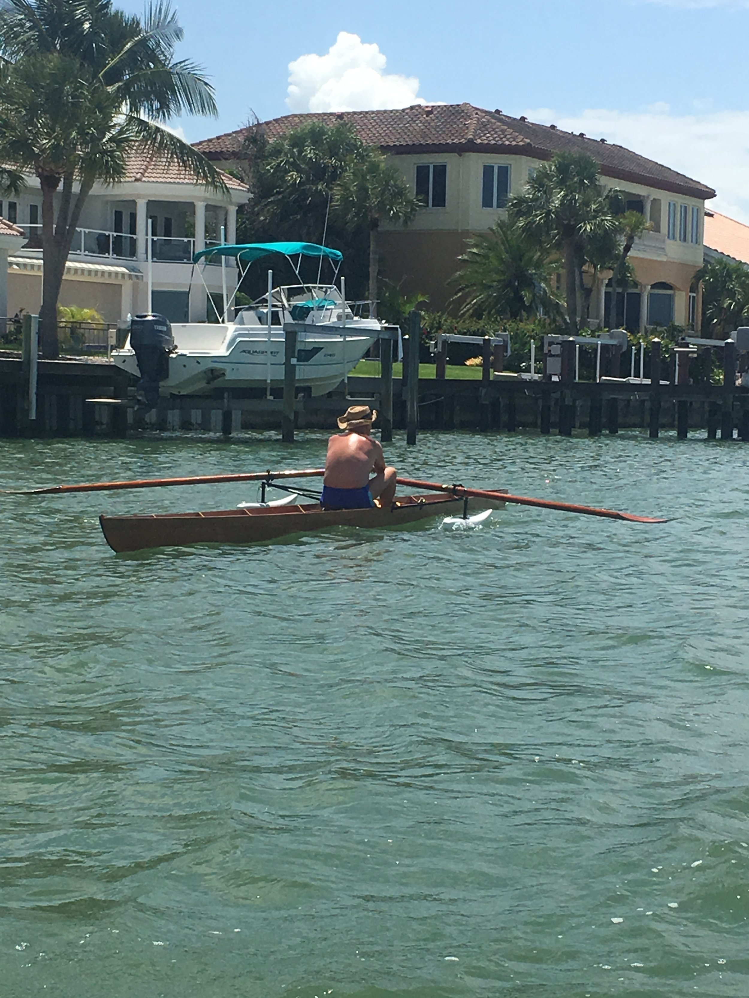 - Back rowing in Sarasota and we met this fine gentleman out on a row. He was in a beautiful hand built training shell. We look forward to many rows with him in the future!!