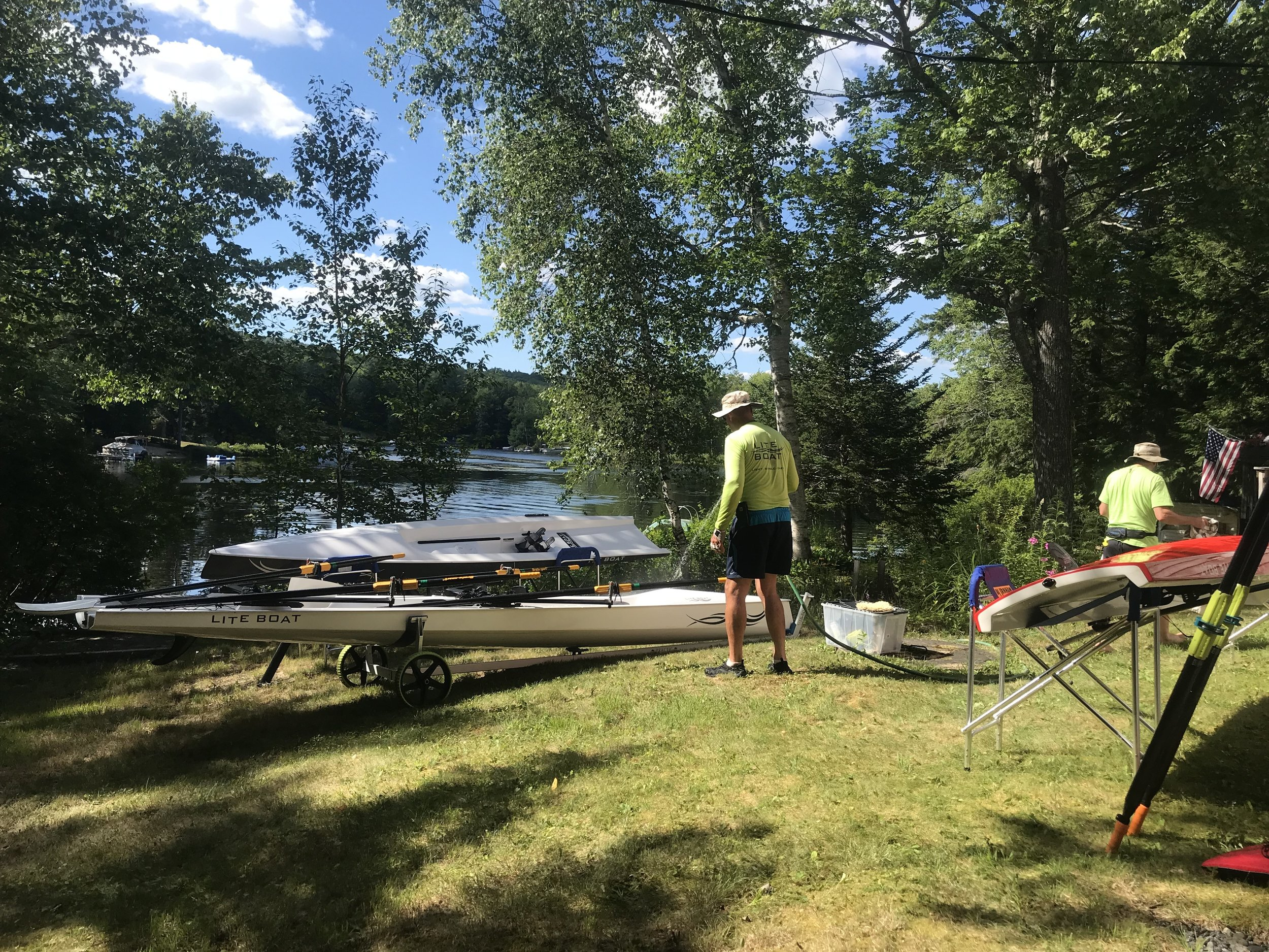 Highland Lake, NH - Cleaning up after a nice session rowing on Highland Lake in New Hampshire.