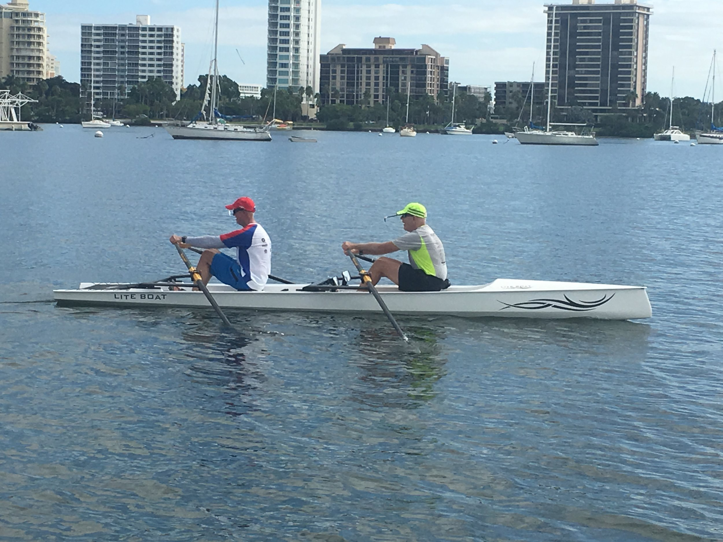Demo Rows - Members of Lake County Rowing Association getting ready to take off in our LiteSport 2X.