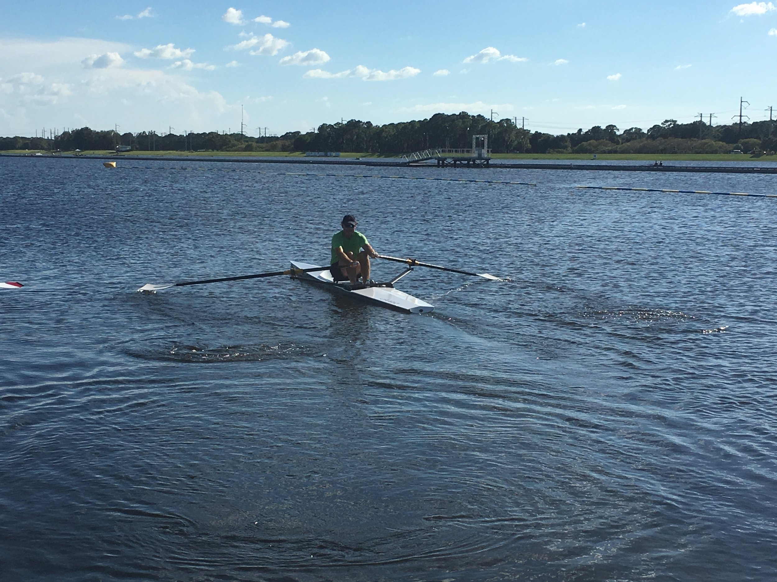 LiteRiver on the course - Here's Greg from Michigan LiteBoat about to take the LiteRiver down the course at the World Rowing Masters Regatta, after hours!!