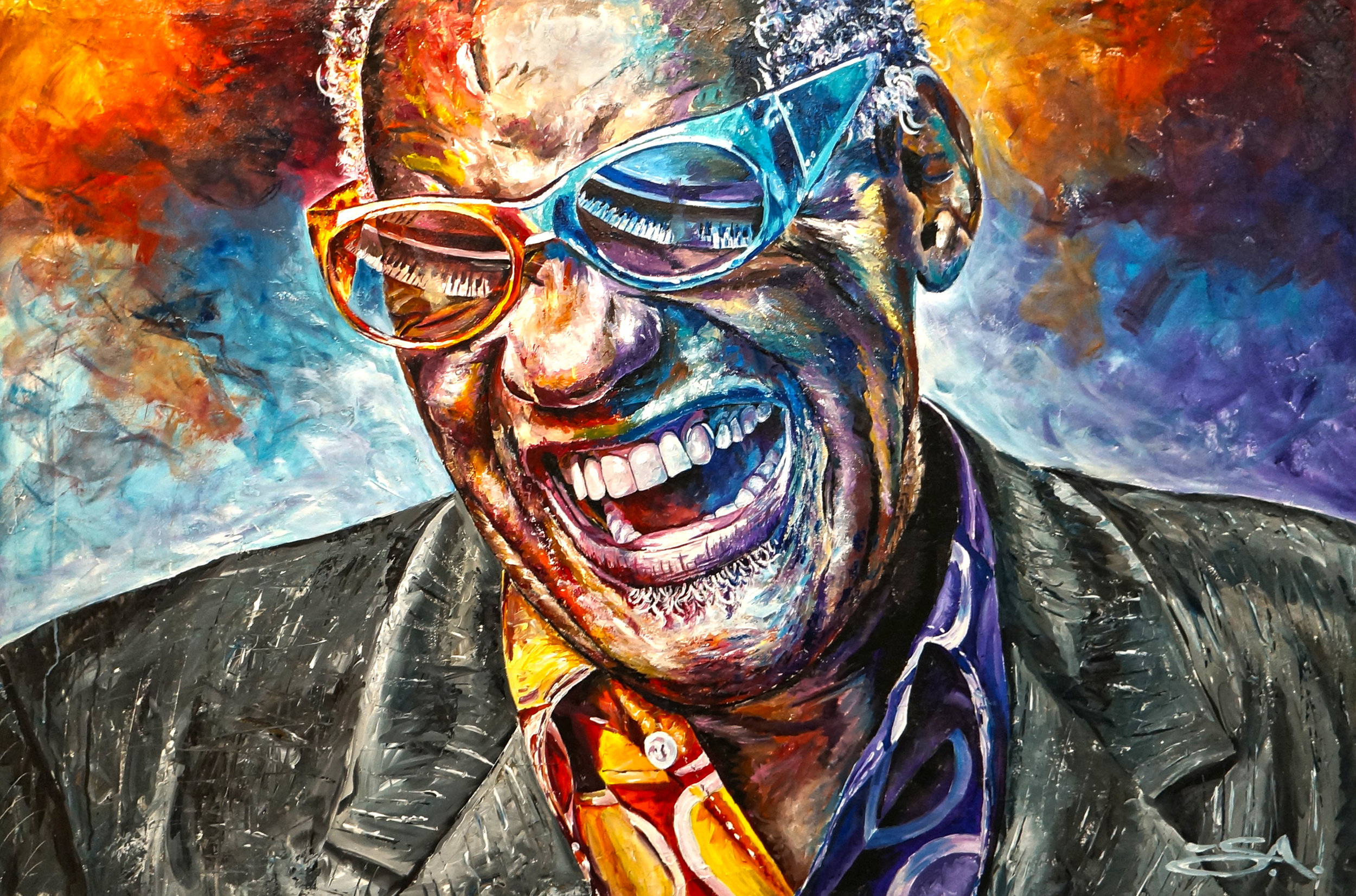 ^ This 32x54 mixed-media painting of Ray Charles is one of Tyler's favorite creations.