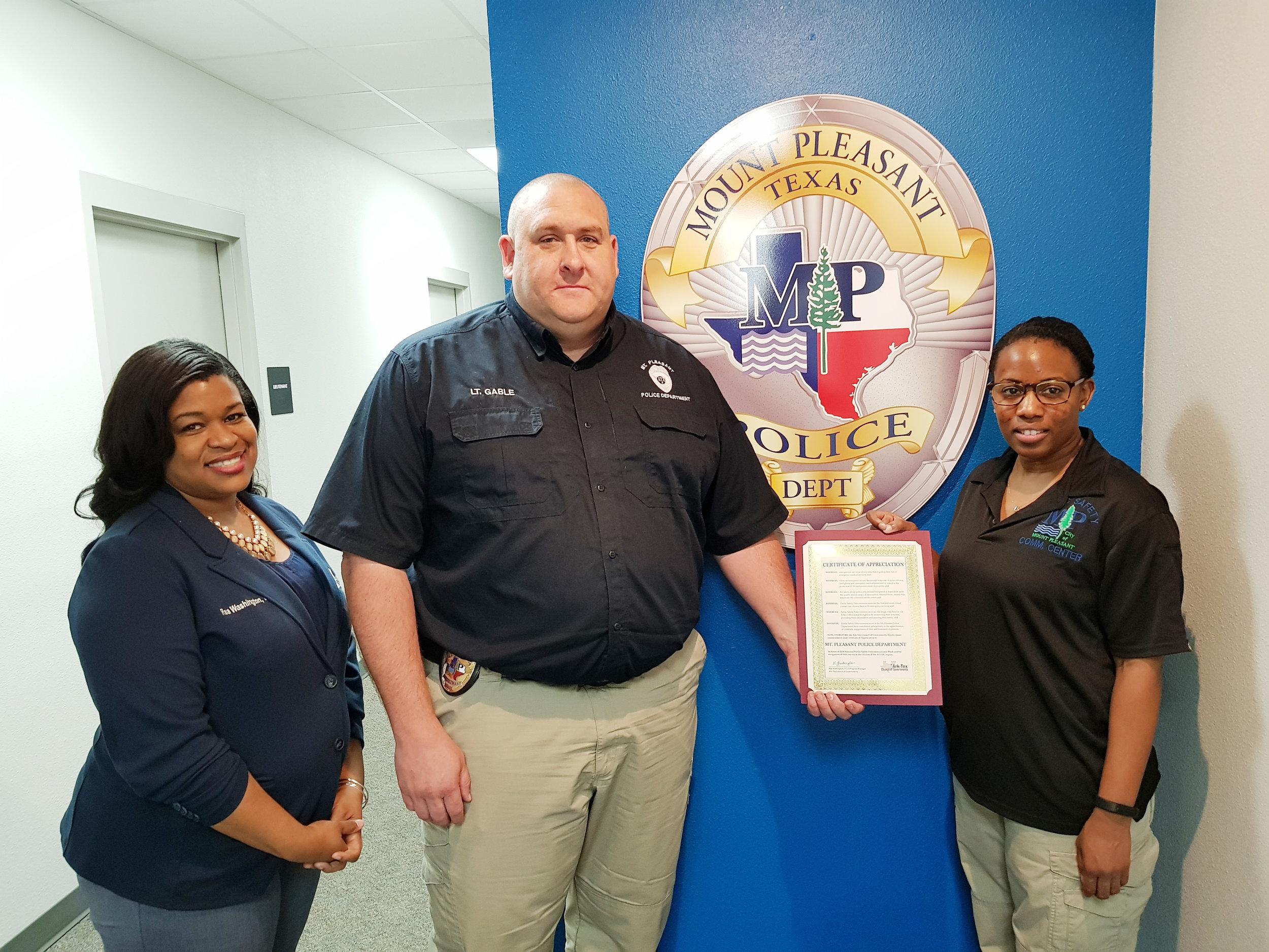 Amber James, Lt. Corey Gable and Rea Washington