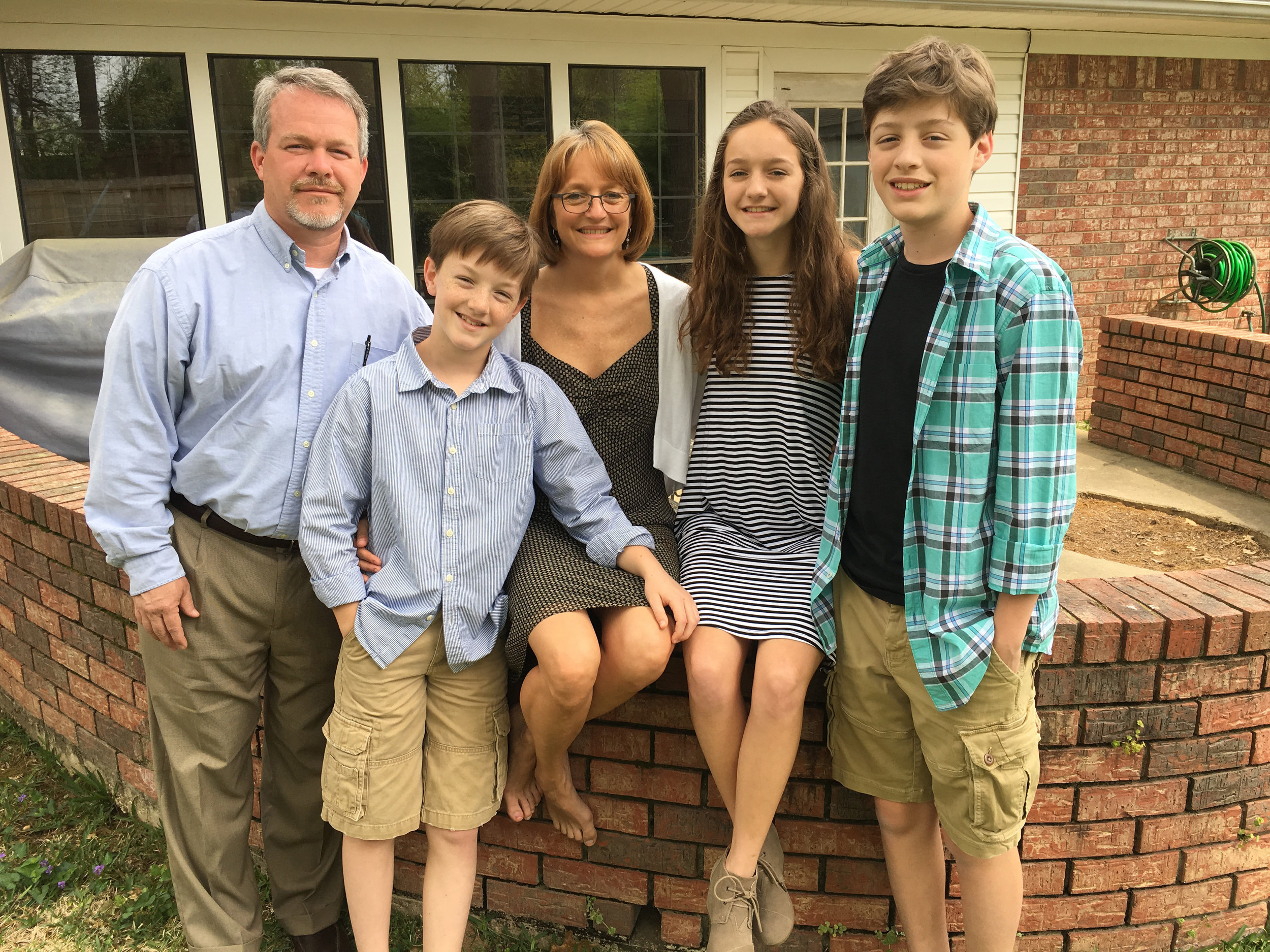 Jim and Belinda with their children, Andrew, Katie and Nathan, this past Easter.