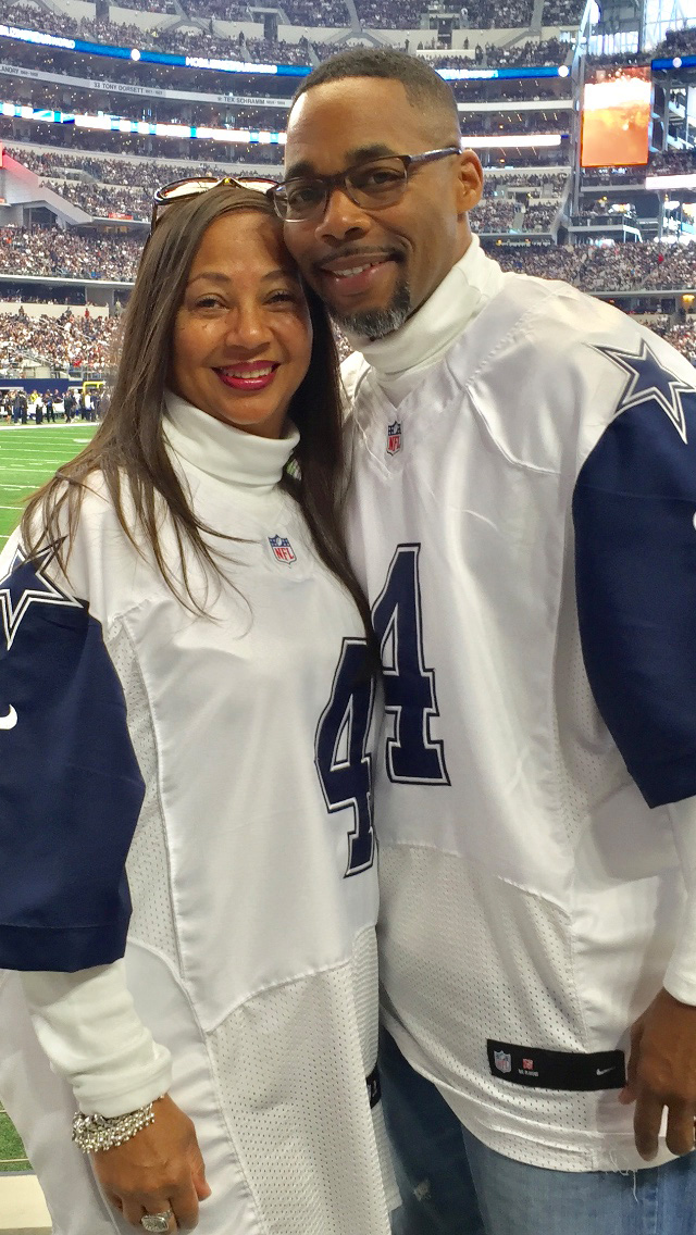 """Dallas Cowboys fans, Brenda and Reginald attended a home game and brought the """"Boys"""" good luck, as they won the game."""