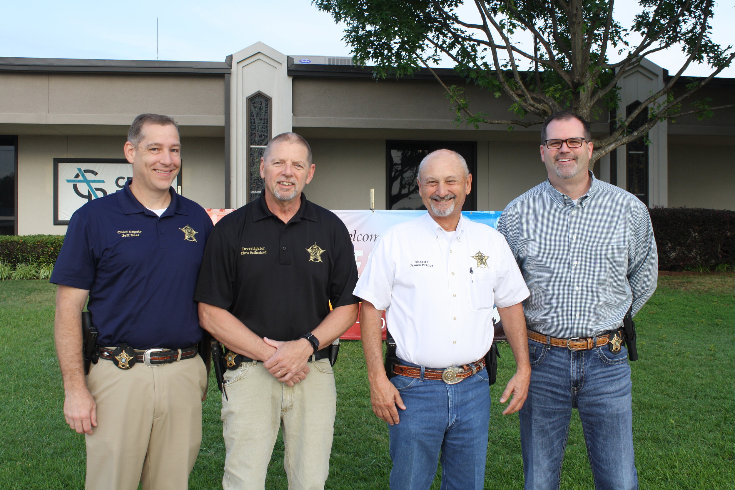 Chief Deputy Jeff Neal, Investigator Chris Sutherland, Sheriff James Prince and Captain Robby McCarver