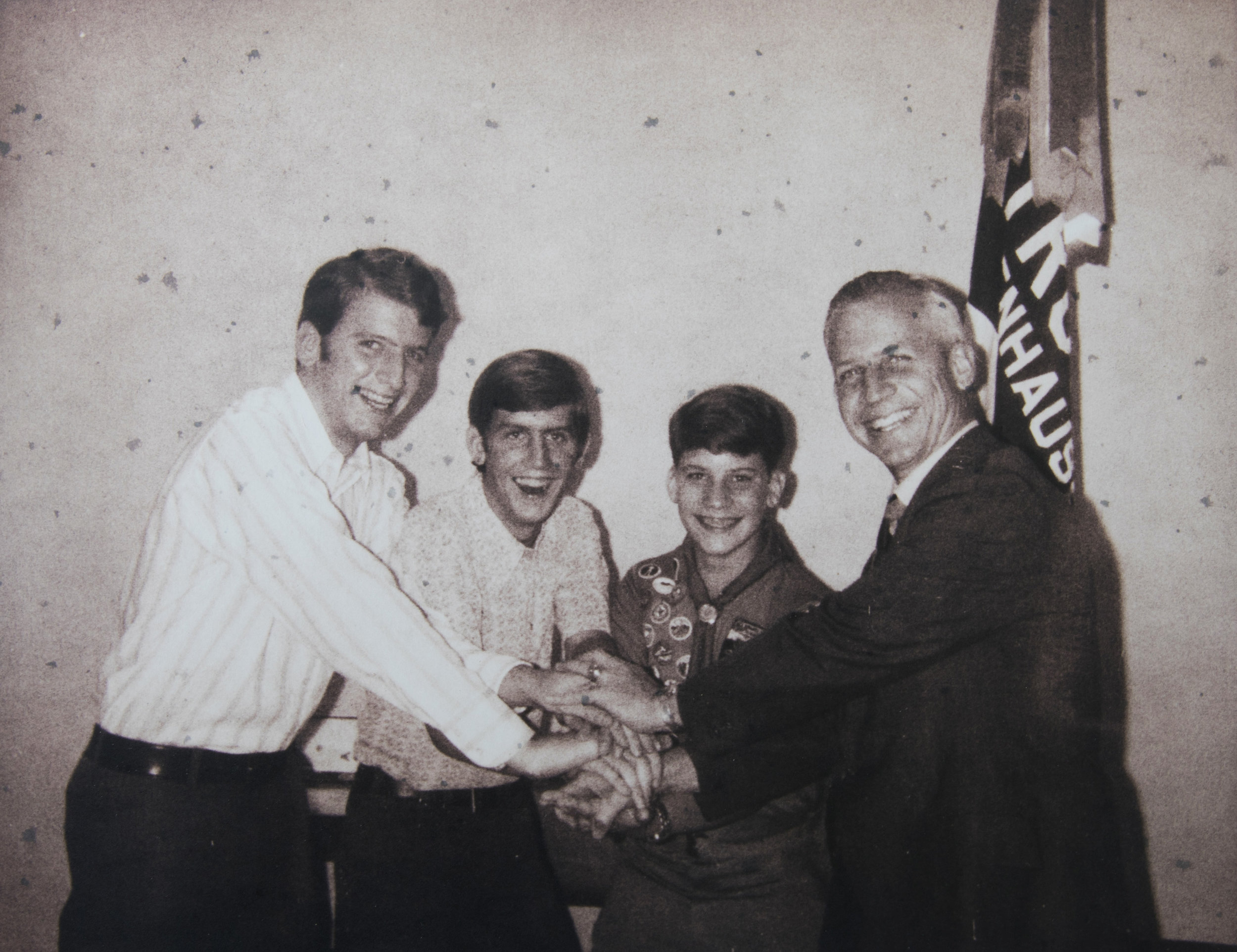^ Four Eagle Scouts – Josh III, Don, William and Josh, Jr. – when William received his Eagle badge in 1971.