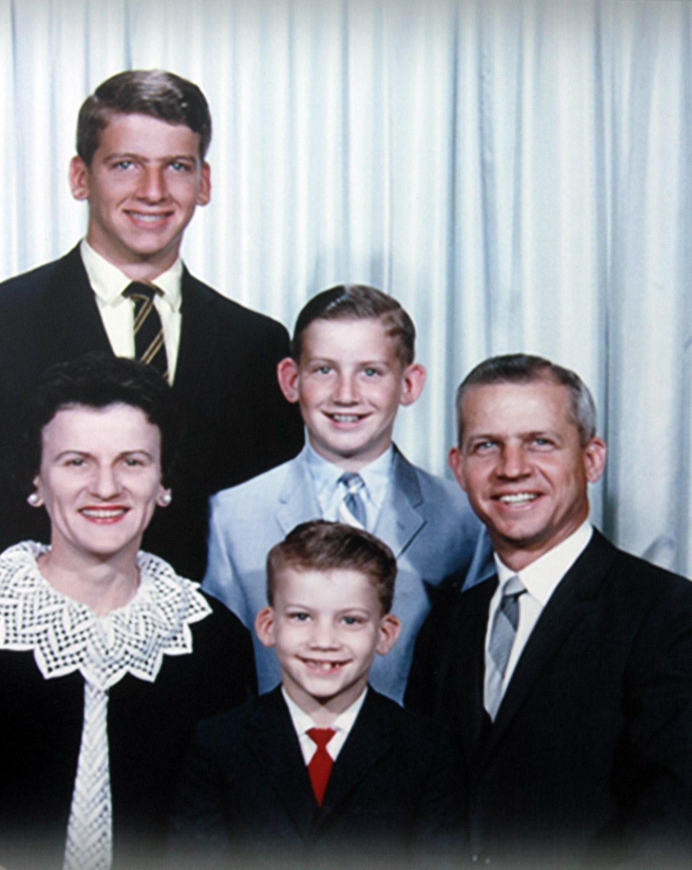 ^ The Morriss family in the mid to late '60s posing for a church directory photograph.