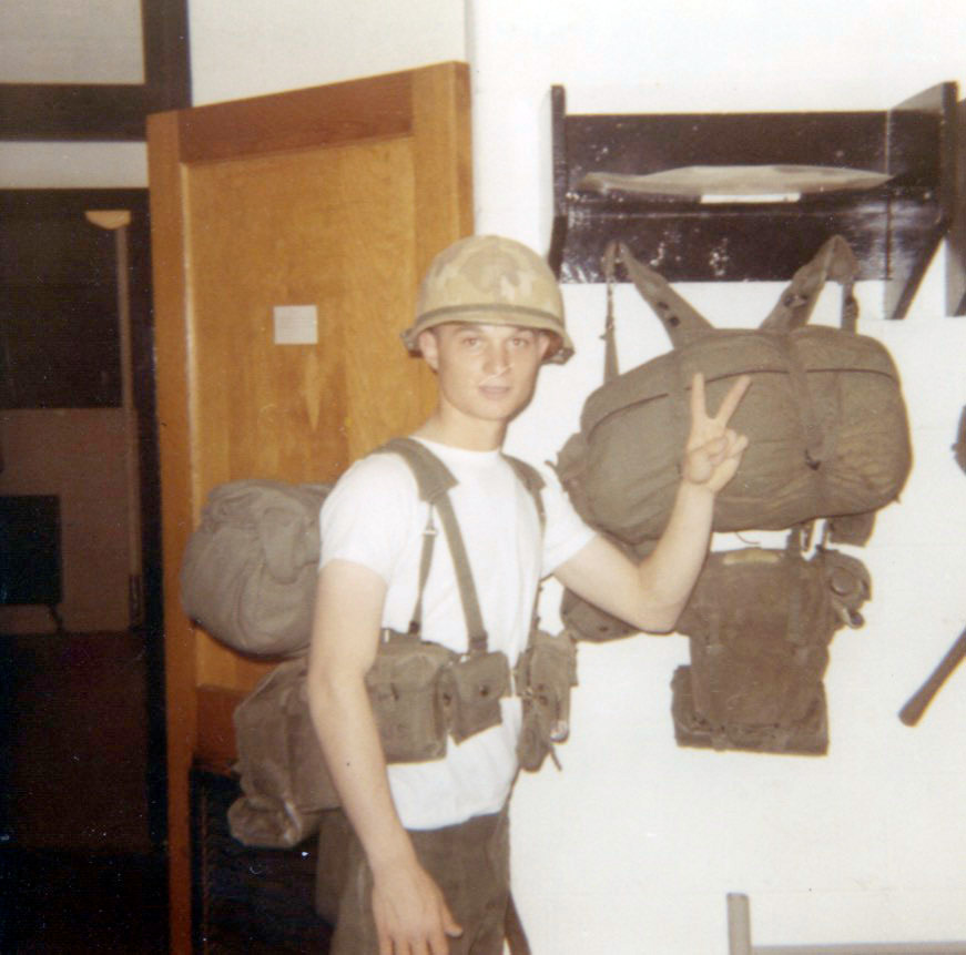 ^ In 1970, Jim prepared his pack for field training after returning to Fort Benning from a 3-day Thanksgiving pass.