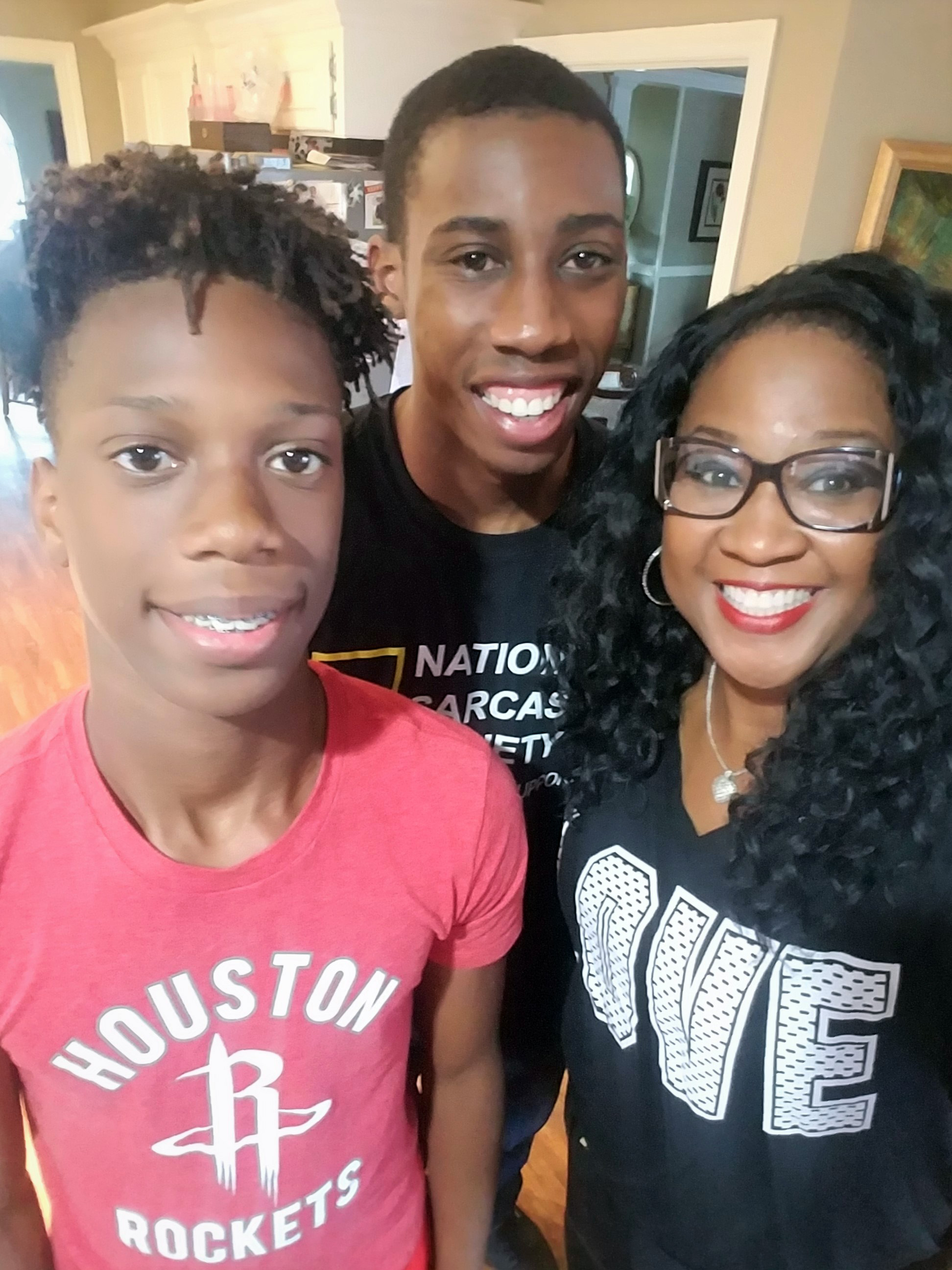 Since Christian (center) has been Deployed to Qatar, this past June was the first time he has been able to visit his brother, Jamaal, and mother, Joyce, here in Texarkana.
