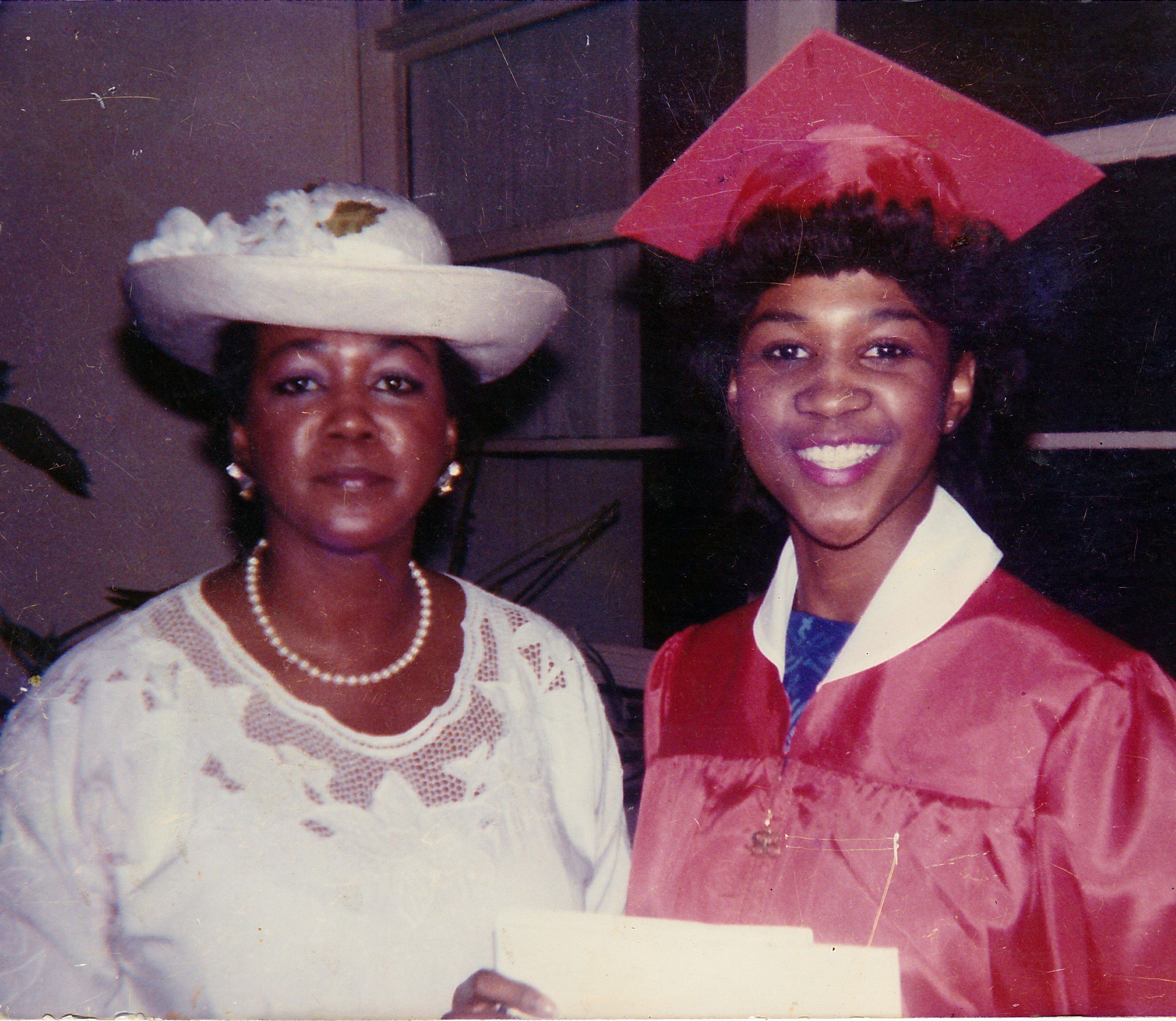 ^ Joyce with her mother, Mary Vaden, during her graduation from Texas High School in 1986.