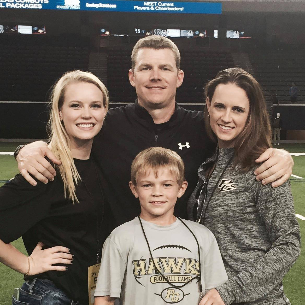 ^ After a playoff win this year, Josh visited with his daughter, Jordan; wife, Jennifer; and son, Jackson.