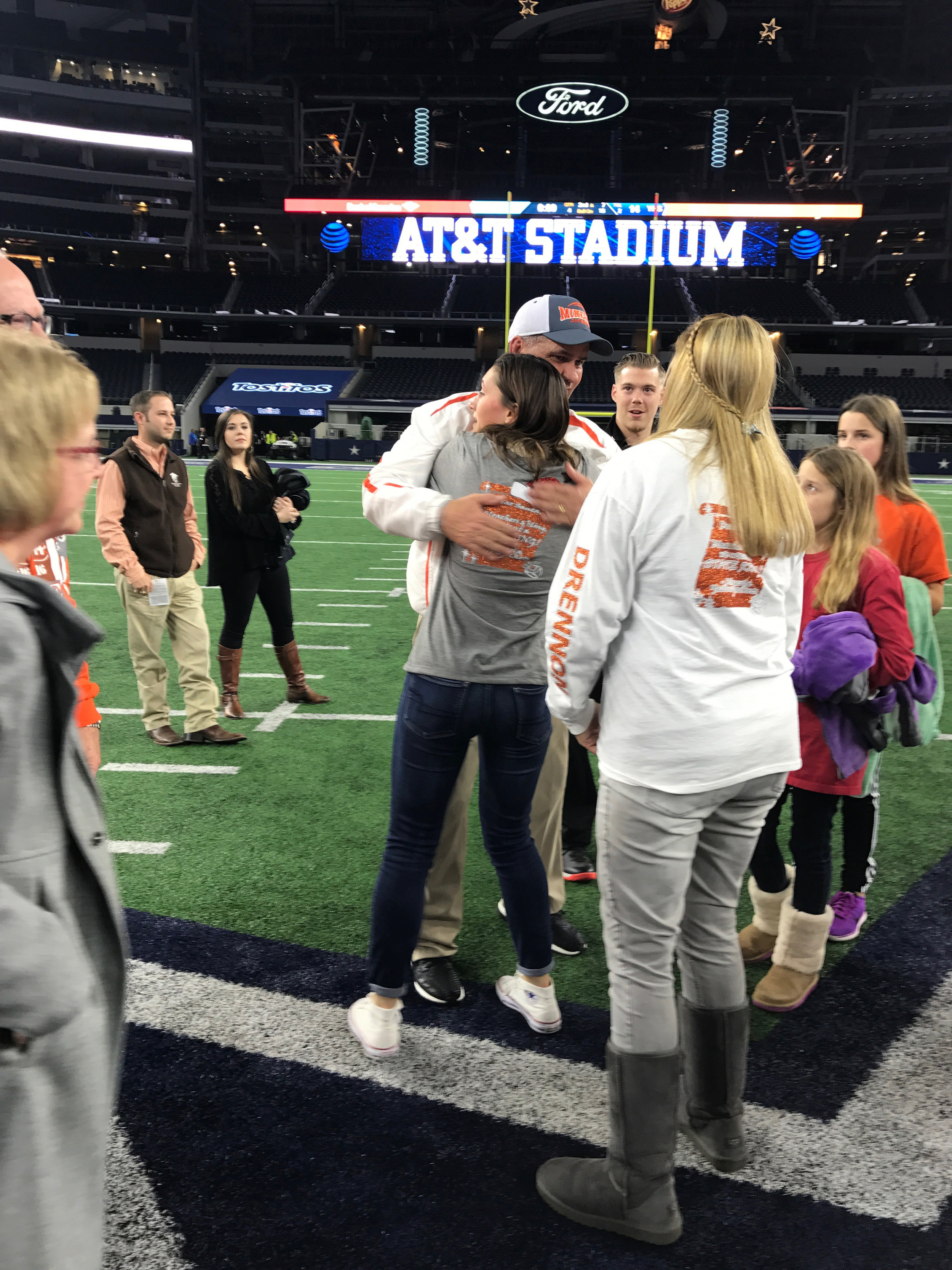 ^ Rebekah and her father, Joe (who was the Athletic Director for Mineola ISD), hug each other in AT&T Stadium after the Yellow Jackets won the 3A State Football Championship in 2016. Ironically, Rebekah is now working at AT&T Stadium.