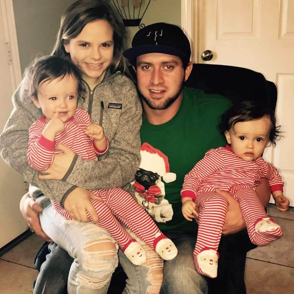 Miranda and Kevin with Ashlynne, Karson, Kanon, Lauren and Sarah during Christmas 2016 at Kevin's parents' house.
